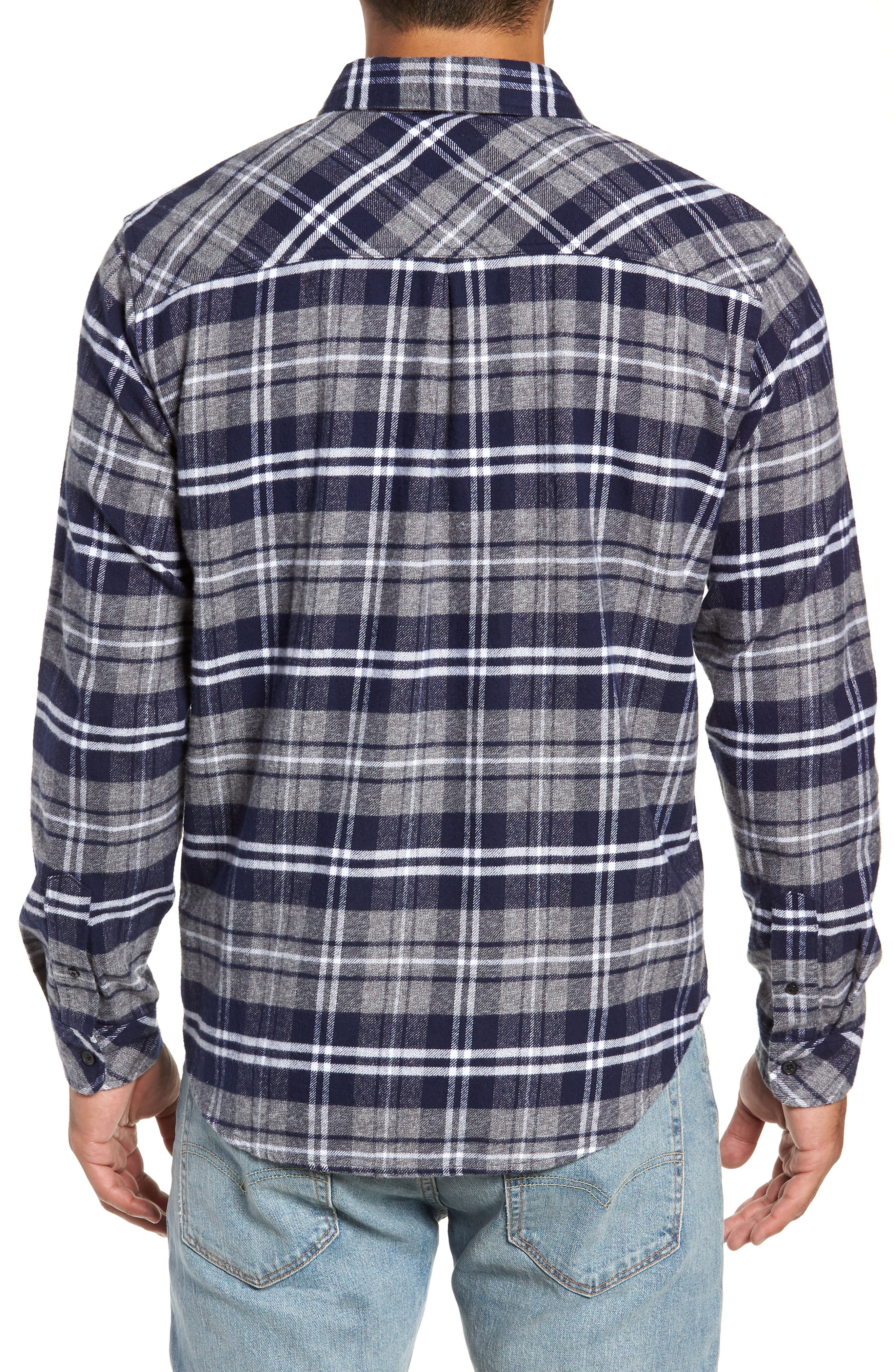 Forrest Slim Fit Plaid Flannel Sport Shirt,                             Alternate thumbnail 3, color,                             NAVY/LIGHT GREY/WHITE