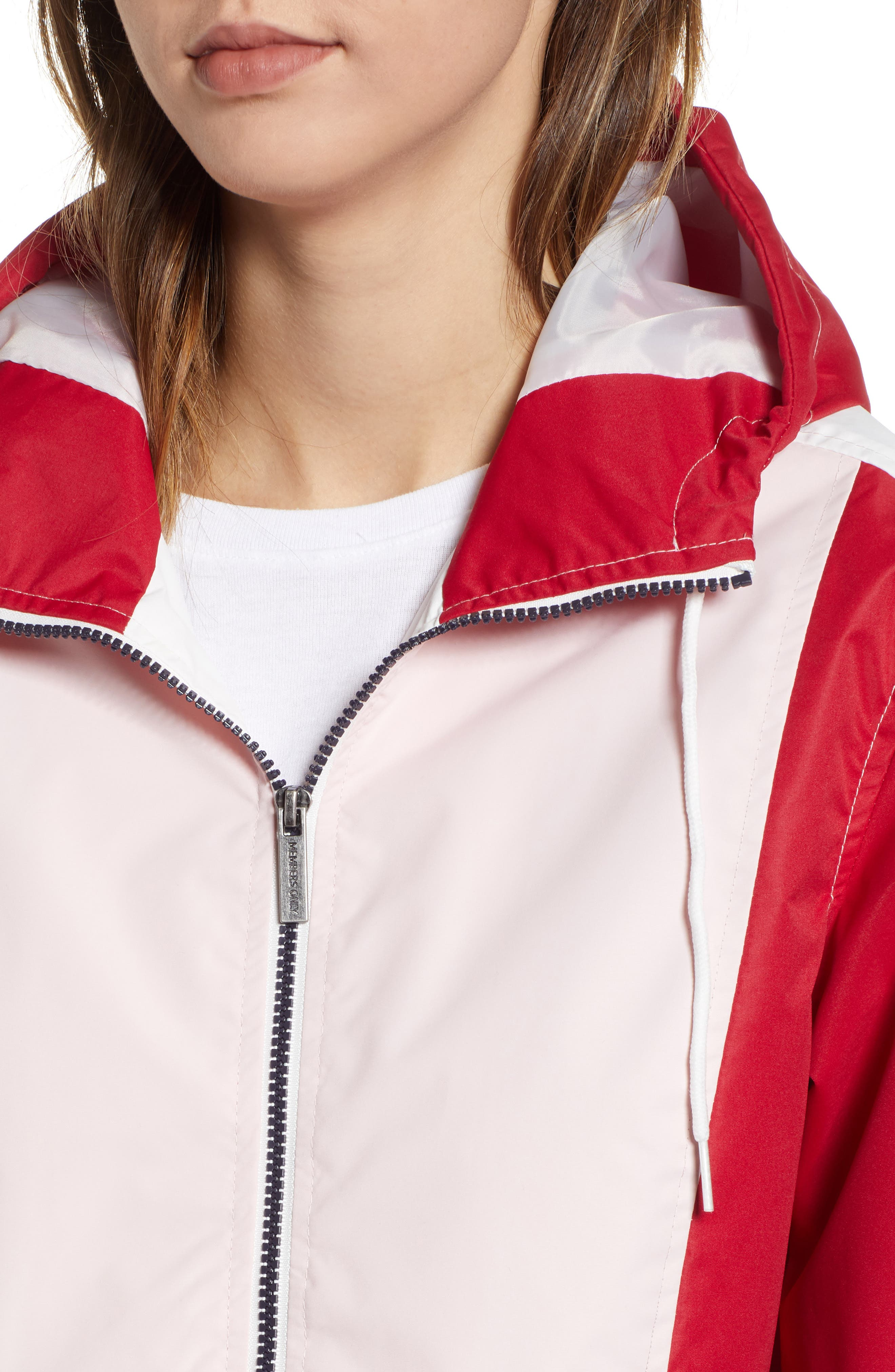 Retro Colorblock Bomber Jacket,                             Alternate thumbnail 4, color,                             PINK-RED