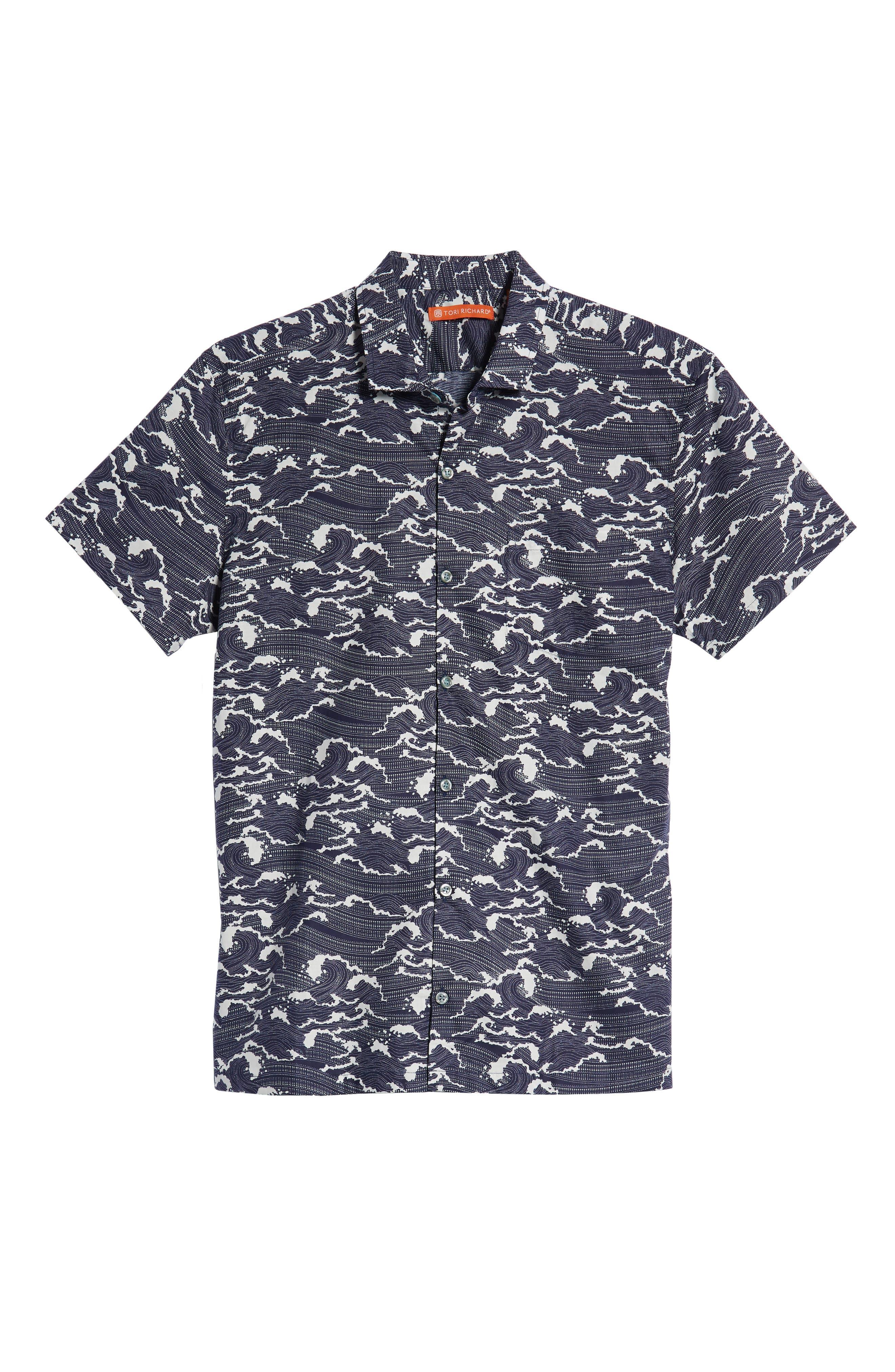 Ebb & Flow Trim Fit Camp Shirt,                             Alternate thumbnail 5, color,                             NAVY