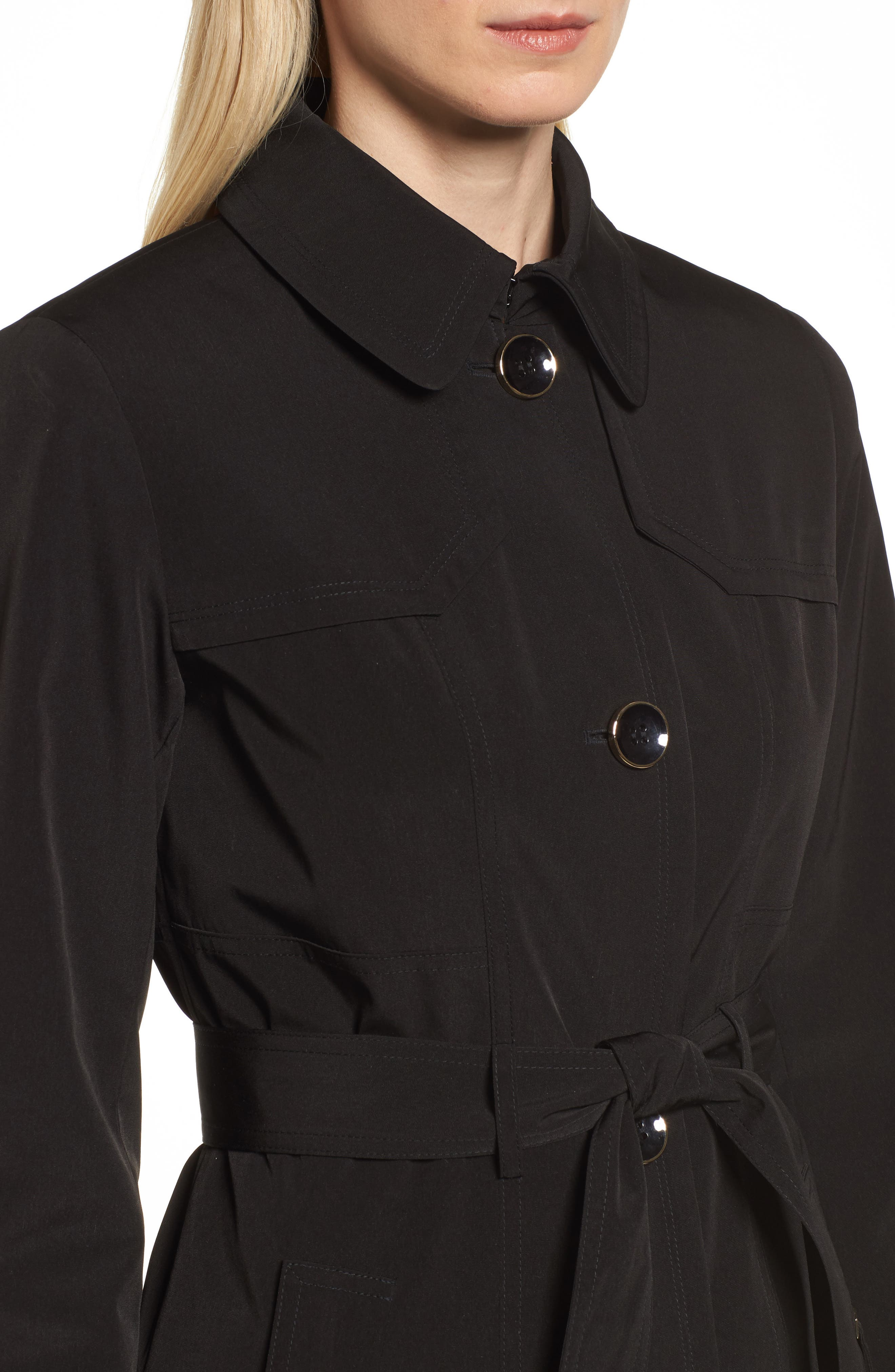 Belted Trench Raincoat,                             Alternate thumbnail 4, color,                             001