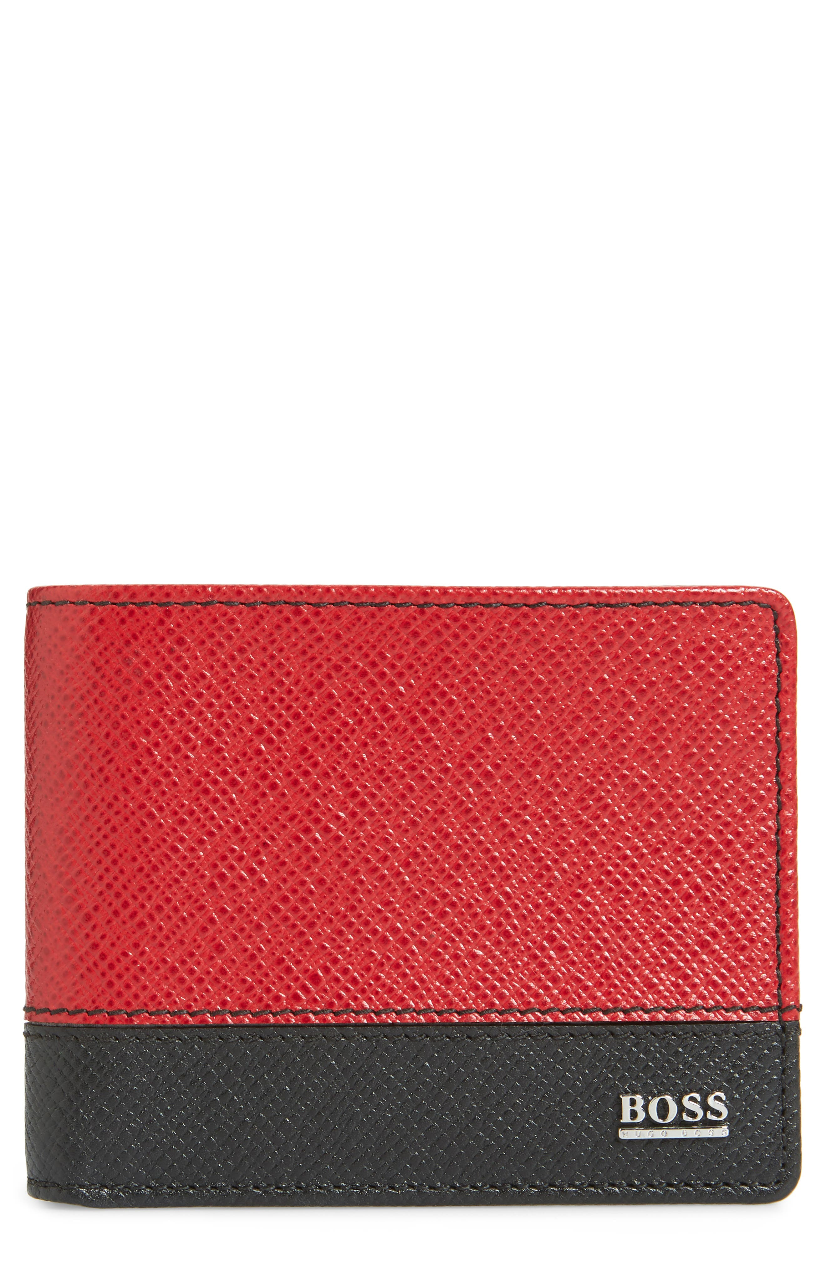Embossed Leather Wallet,                         Main,                         color, DARK RED