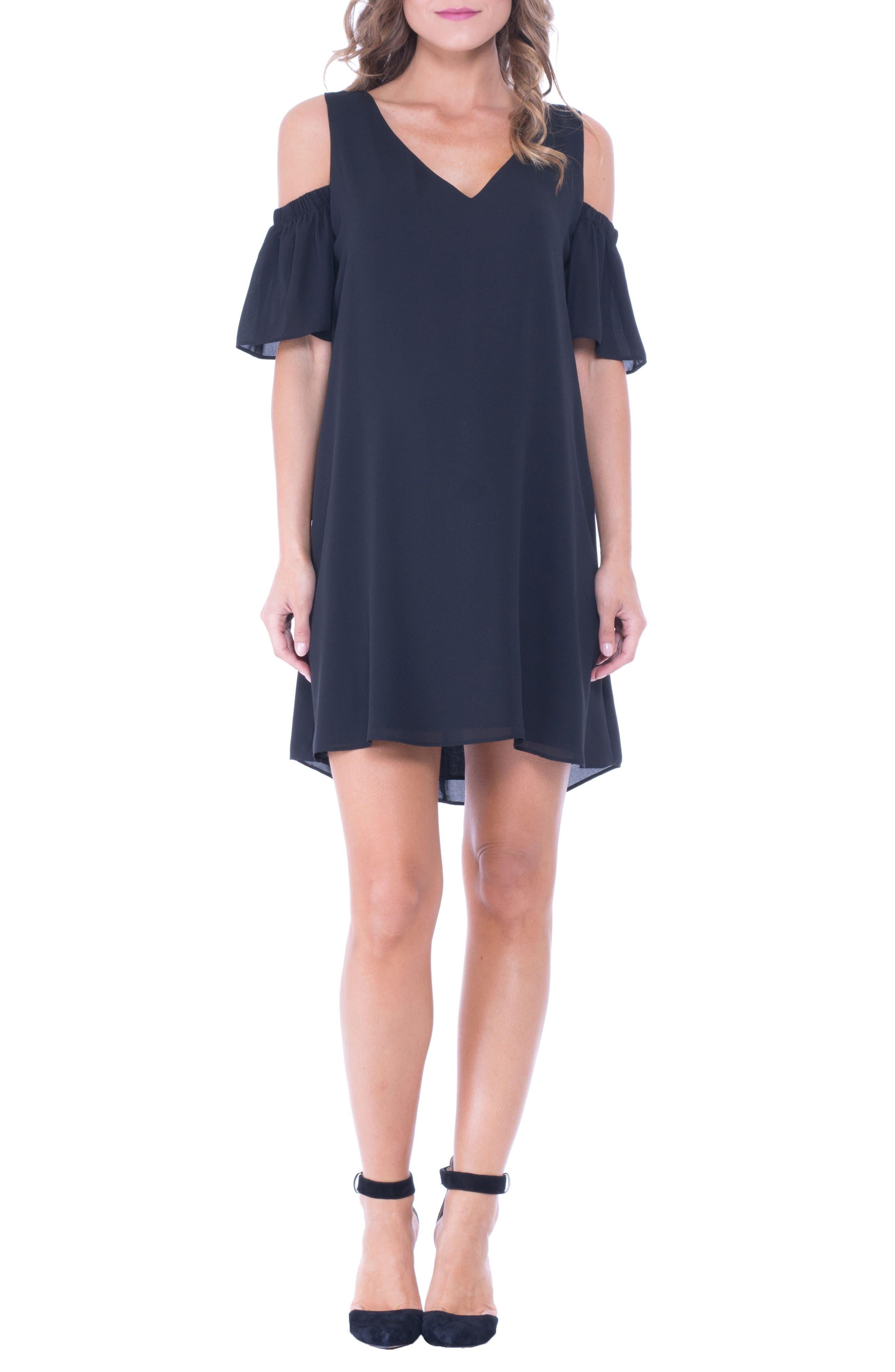 Juliette Cold Shoulder Maternity Dress,                             Main thumbnail 1, color,                             BLACK