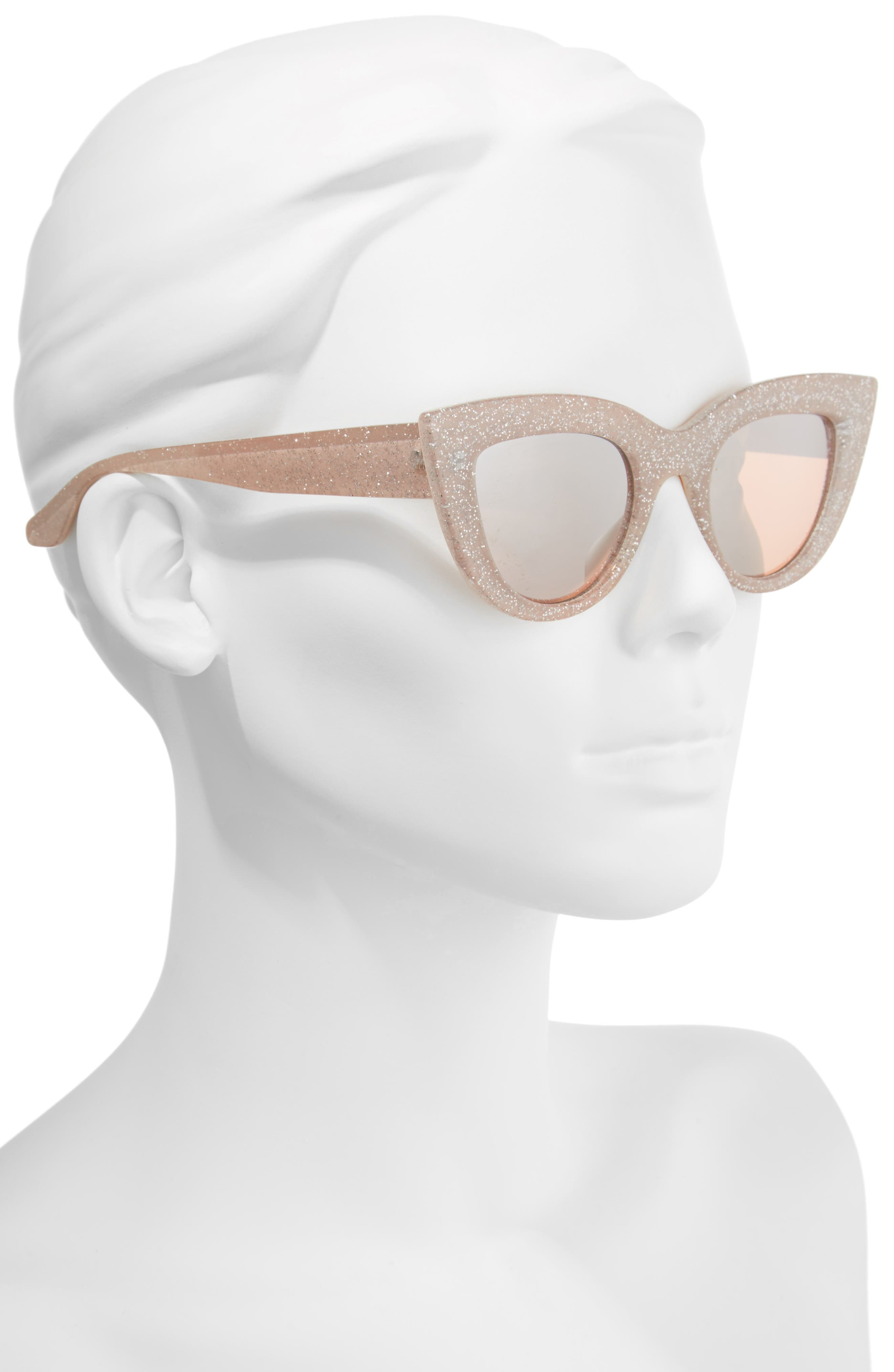 45mm Glitter Cat Eye Sunglasses,                             Alternate thumbnail 4, color,