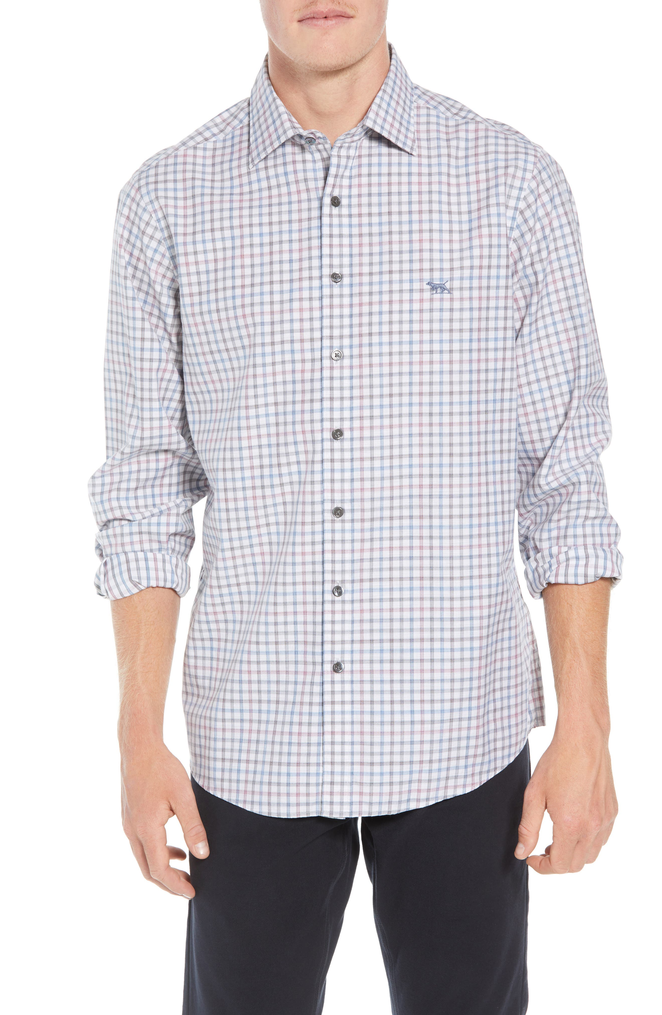 Port Hutt Regular Fit Check Sport Shirt,                         Main,                         color, OYSTER