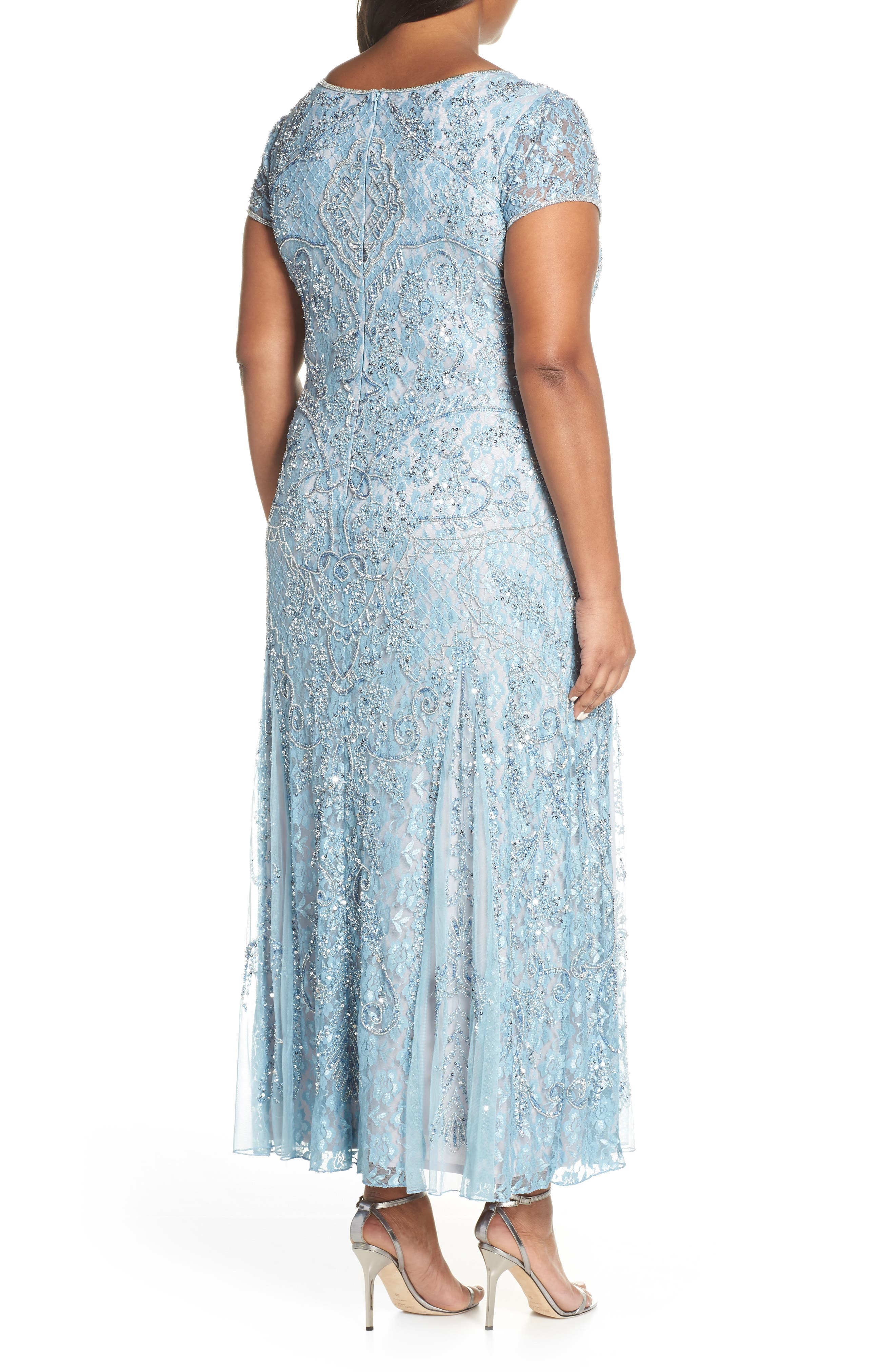 PISARRO NIGHTS,                             Embellished Lace A-Line Dress,                             Alternate thumbnail 2, color,                             SKY BLUE