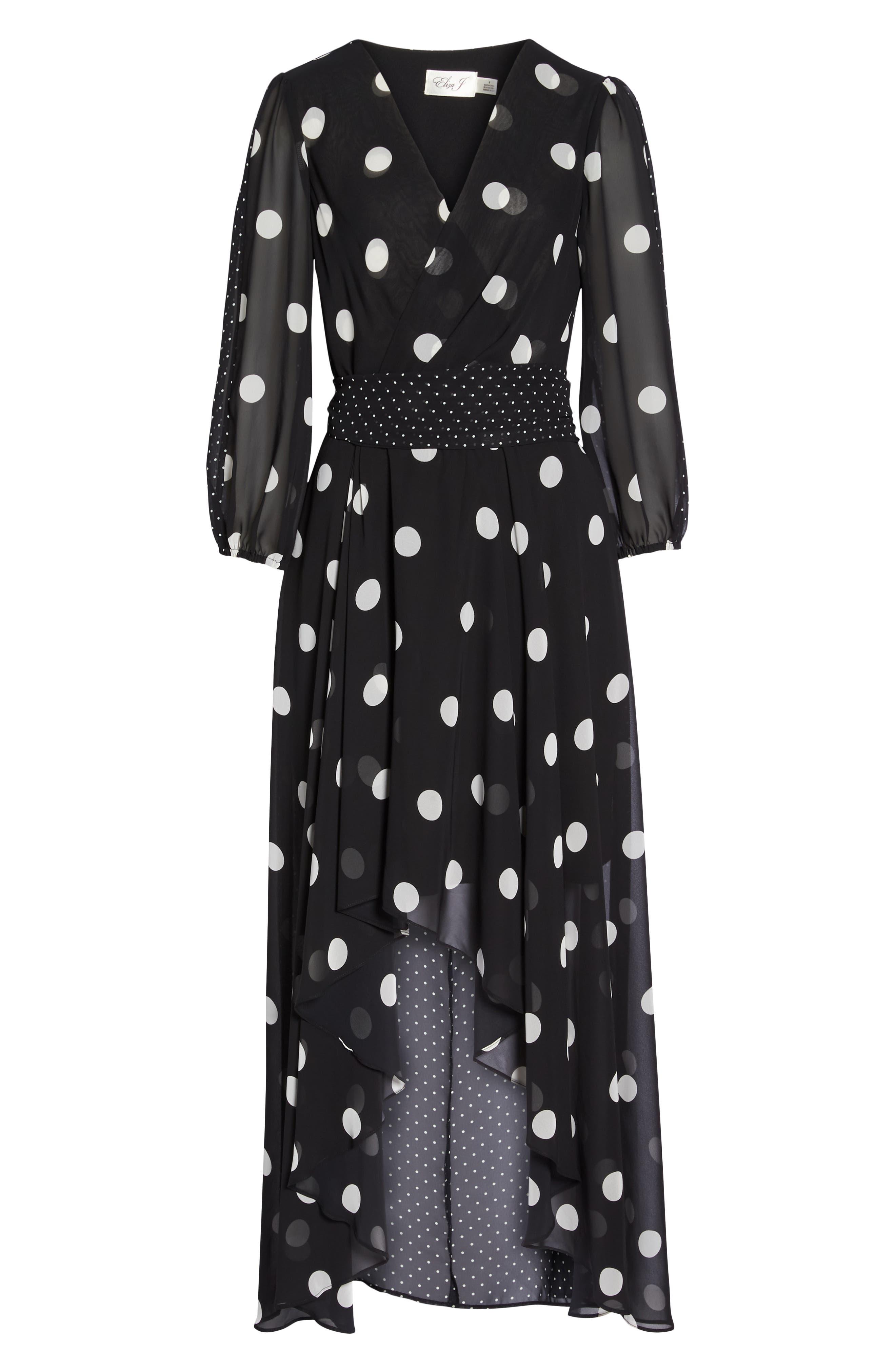 Polka Dot Chiffon Maxi Dress,                             Alternate thumbnail 7, color,                             012