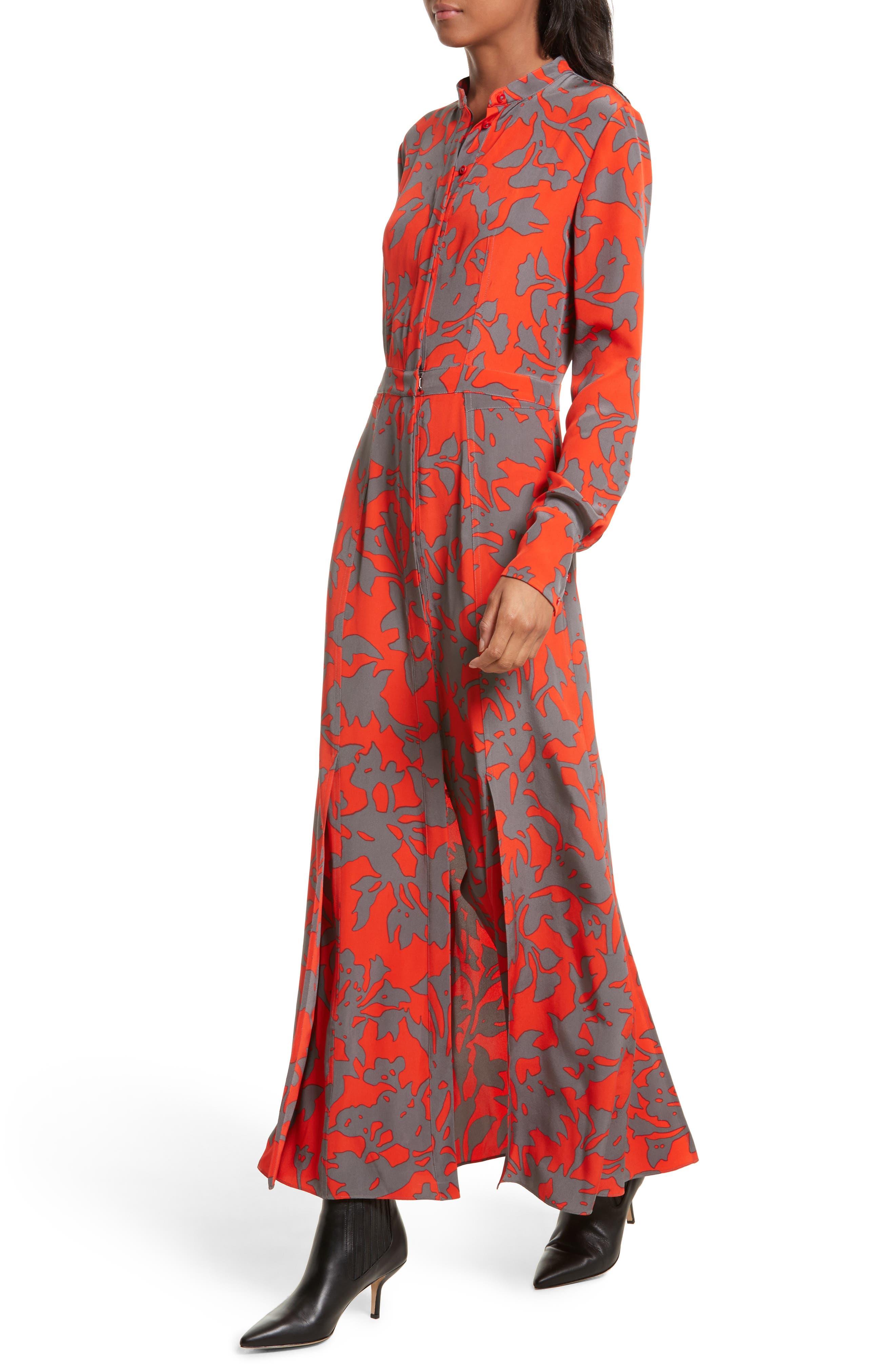 Print Silk Maxi Shirtdress,                             Alternate thumbnail 4, color,                             622