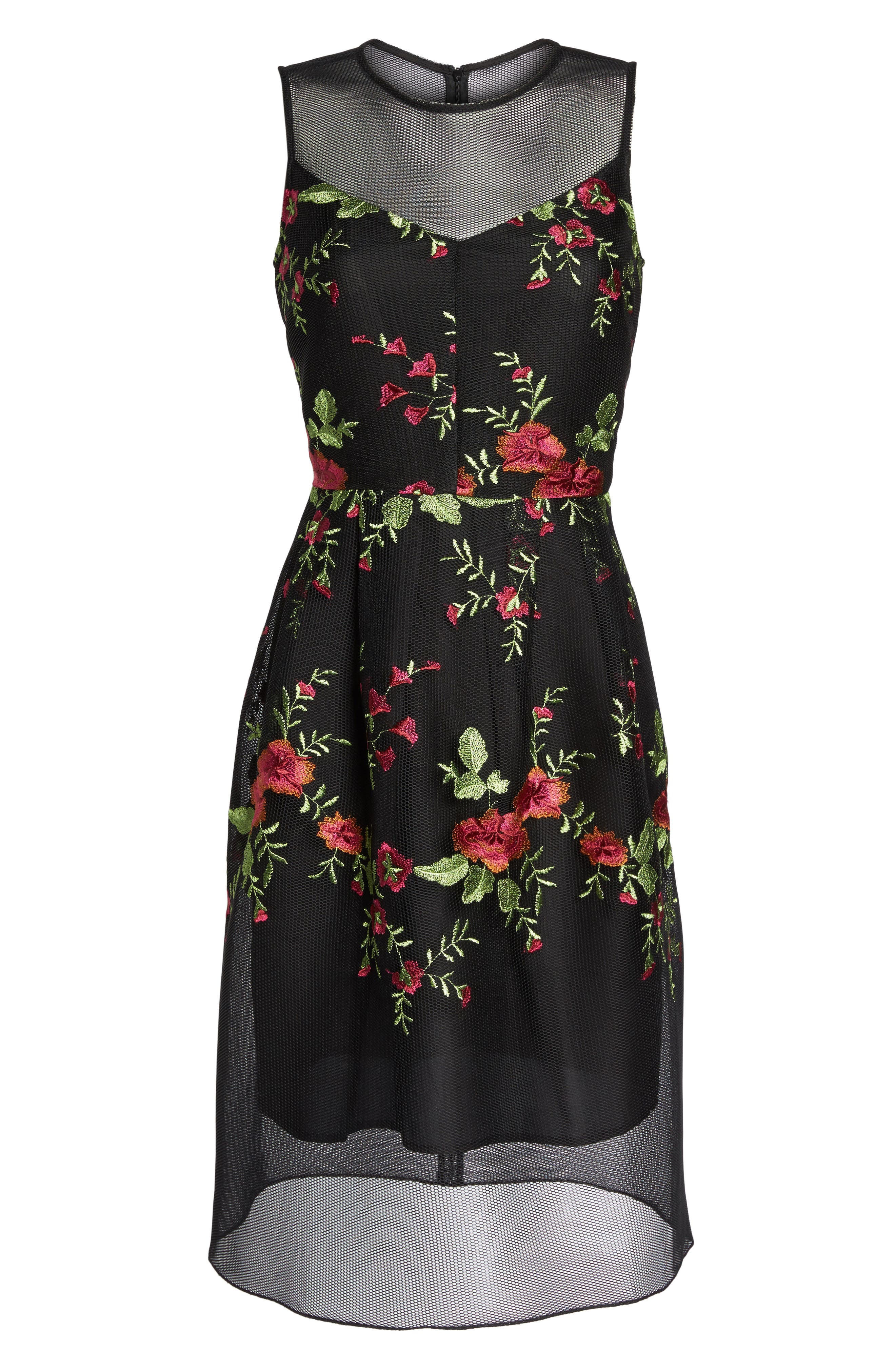 Embroidered Fit & Flare Dress,                             Alternate thumbnail 6, color,