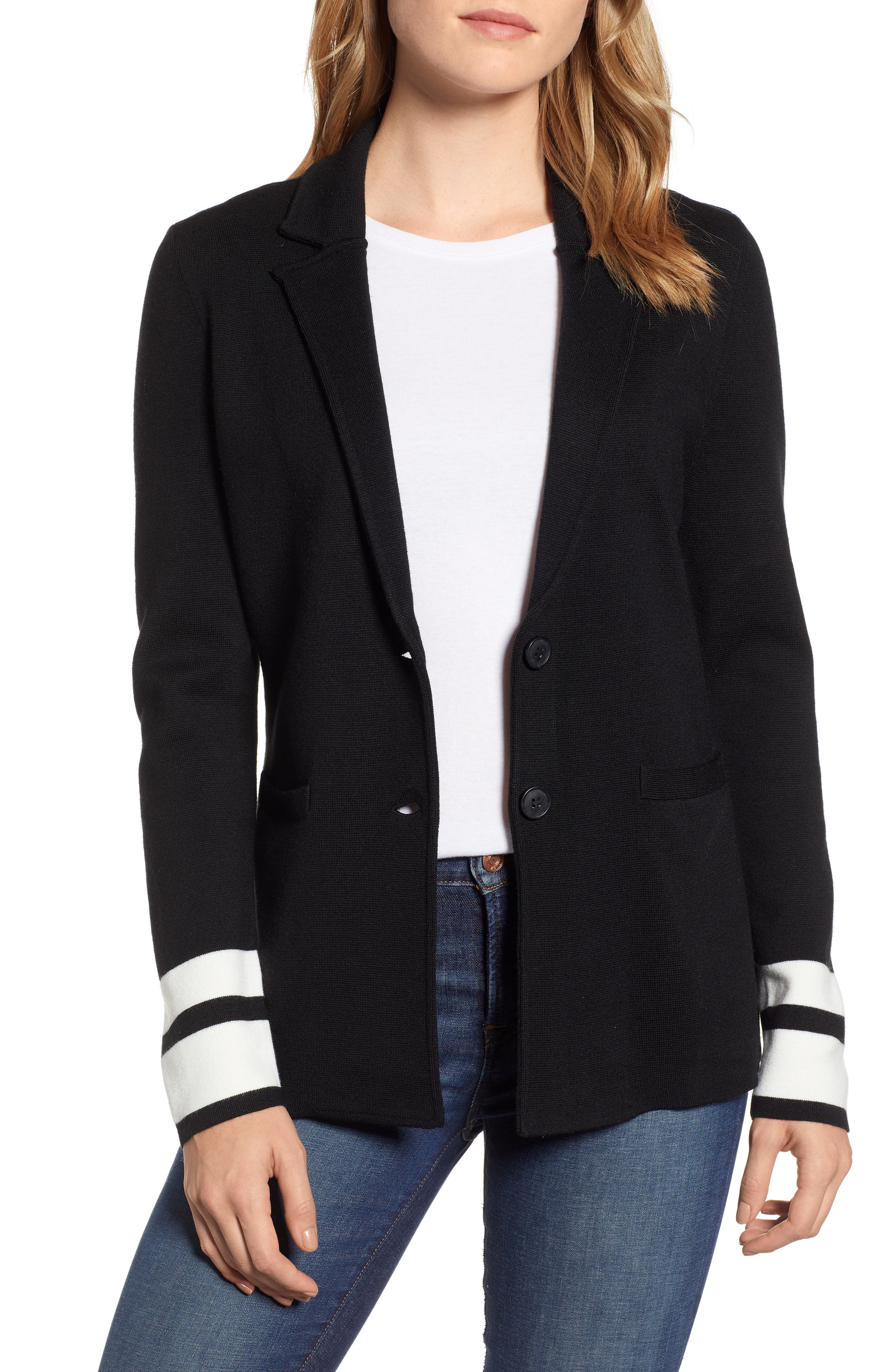 Stretch Wool Blend Sweater Blazer,                             Main thumbnail 1, color,                             BLACK- IVORY STRIPE