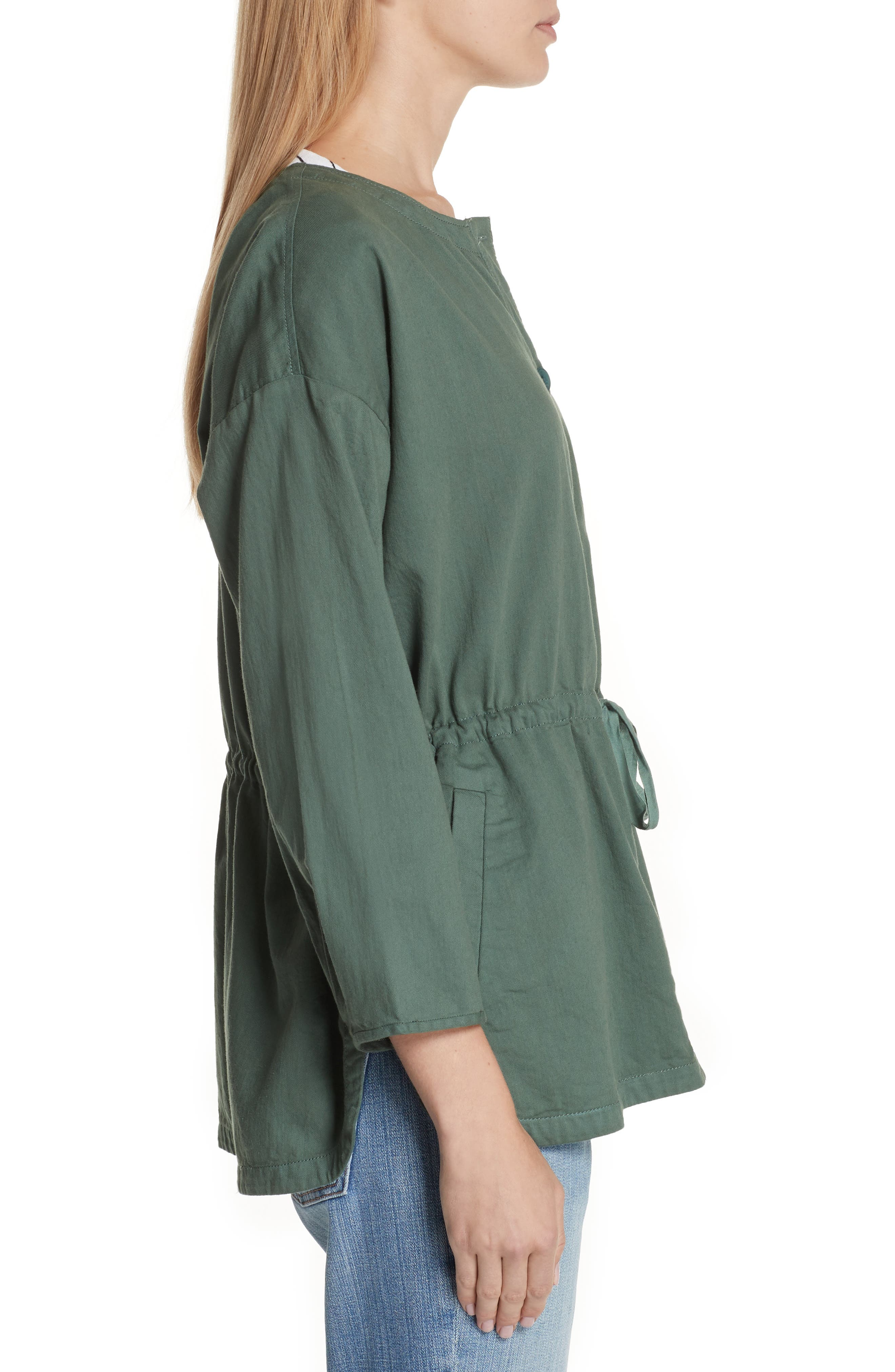 Shirttail Hem Organic Cotton Jacket,                             Alternate thumbnail 7, color,
