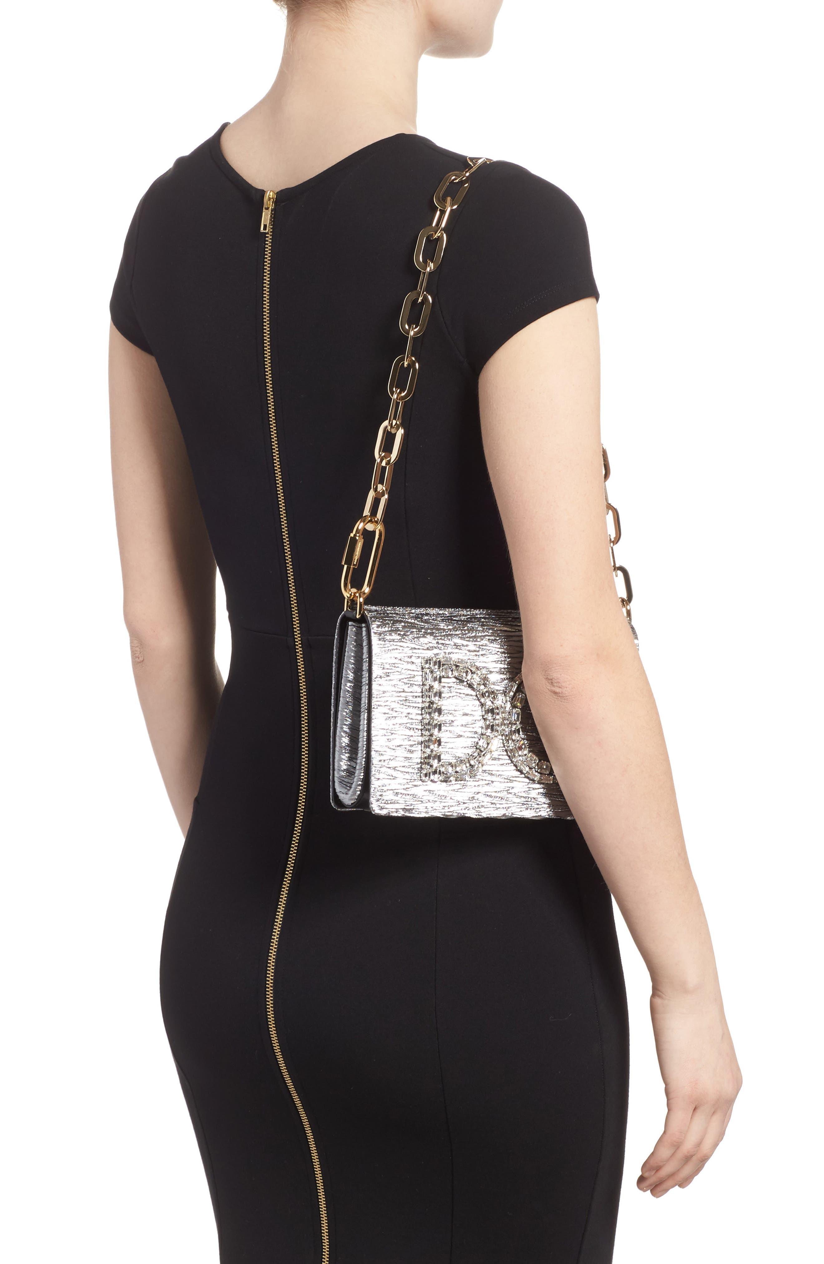 Girls Crystal Logo Lamé Shoulder Bag,                             Alternate thumbnail 2, color,                             040