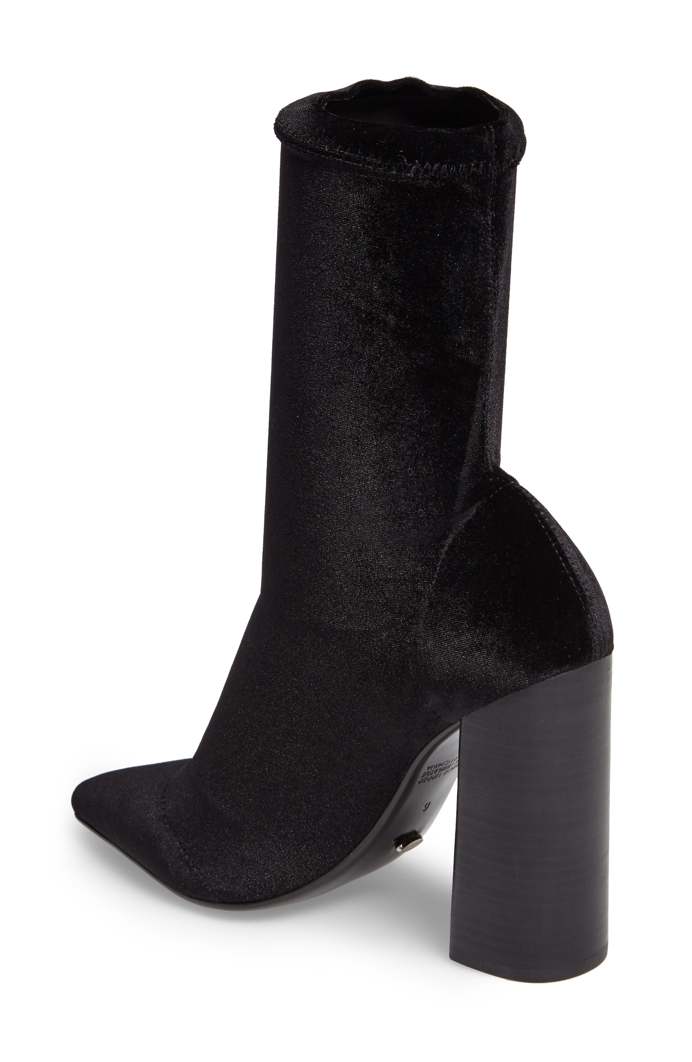 Diddy Velvet Bootie,                             Alternate thumbnail 2, color,                             BLACK FABRIC