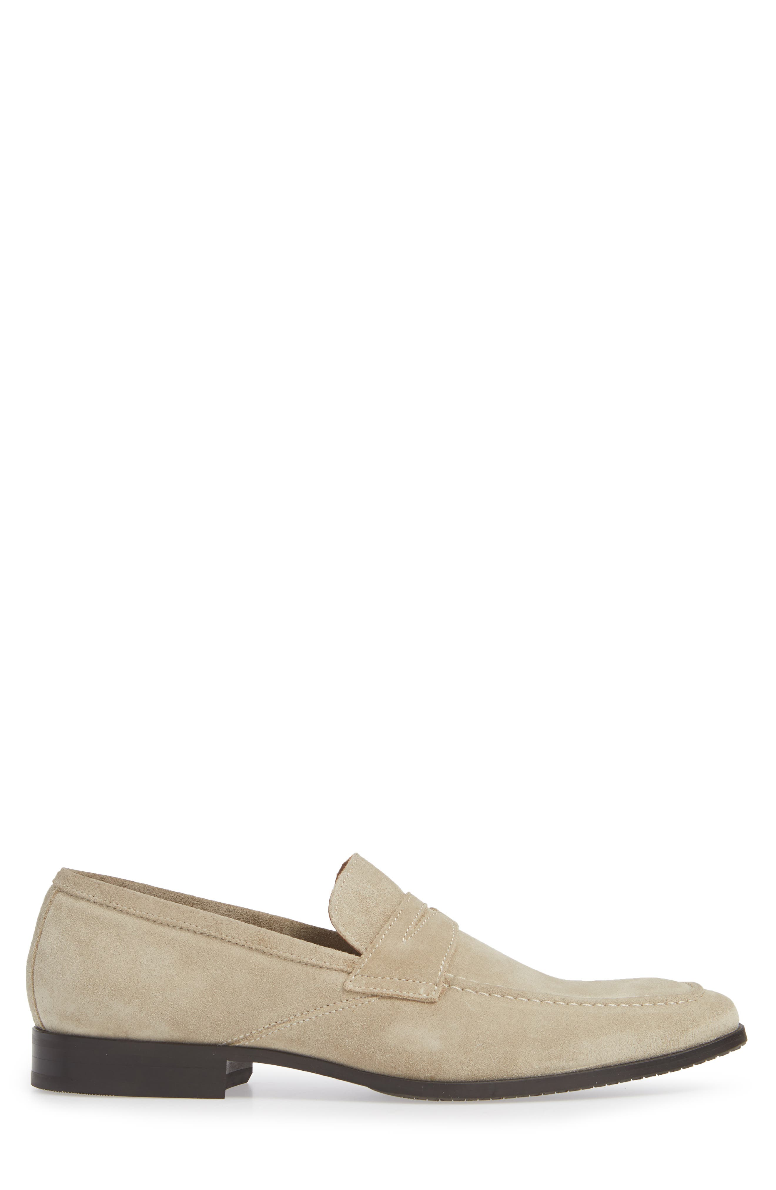 Nicasio Apron Toe Penny Loafer,                             Alternate thumbnail 3, color,                             SAND SUEDE