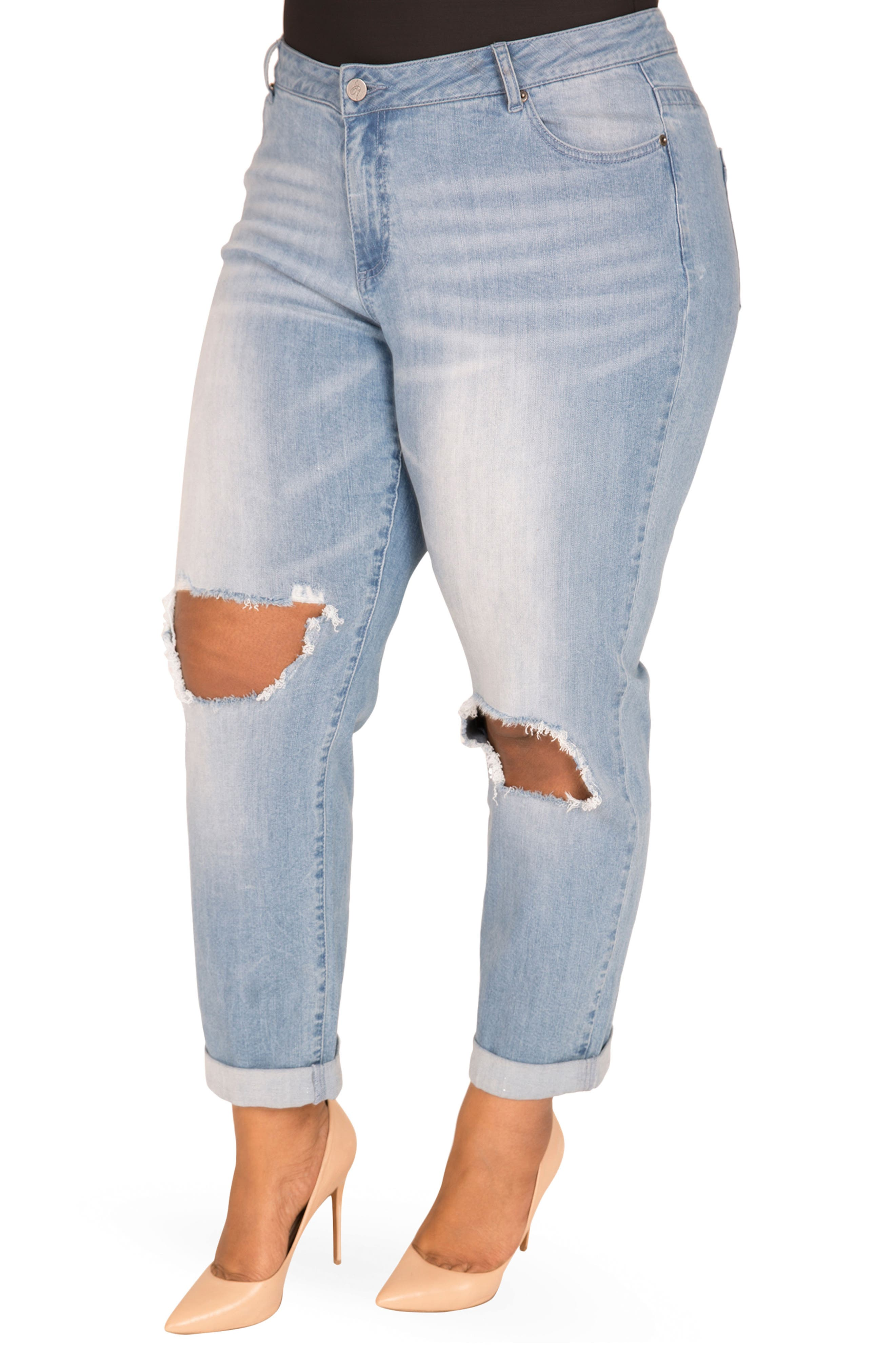 Verla Destroyed Boyfriend Jeans,                             Alternate thumbnail 3, color,                             LIGHT BLUE
