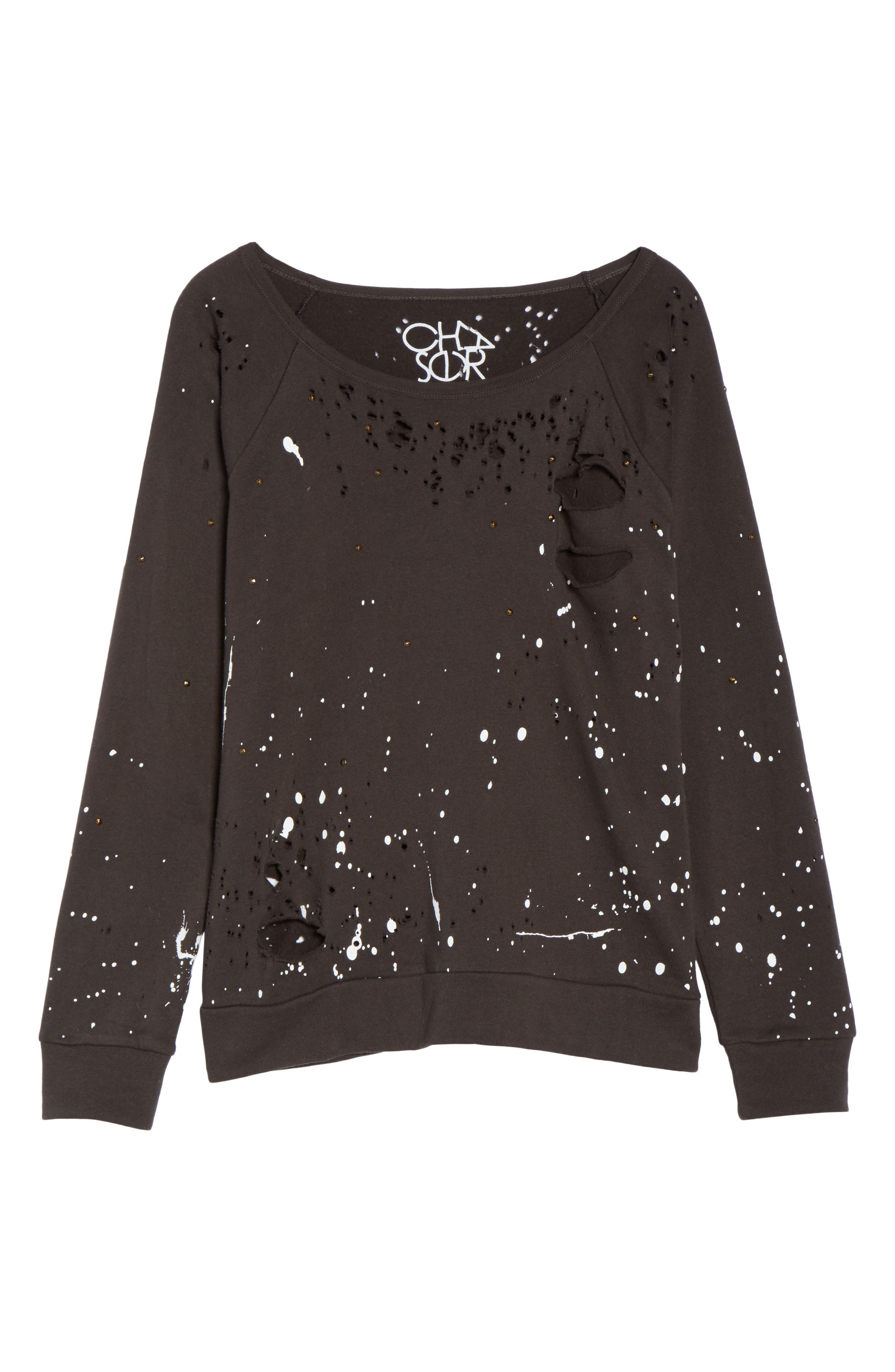 Distressed Fleece Sweatshirt,                             Alternate thumbnail 6, color,                             007