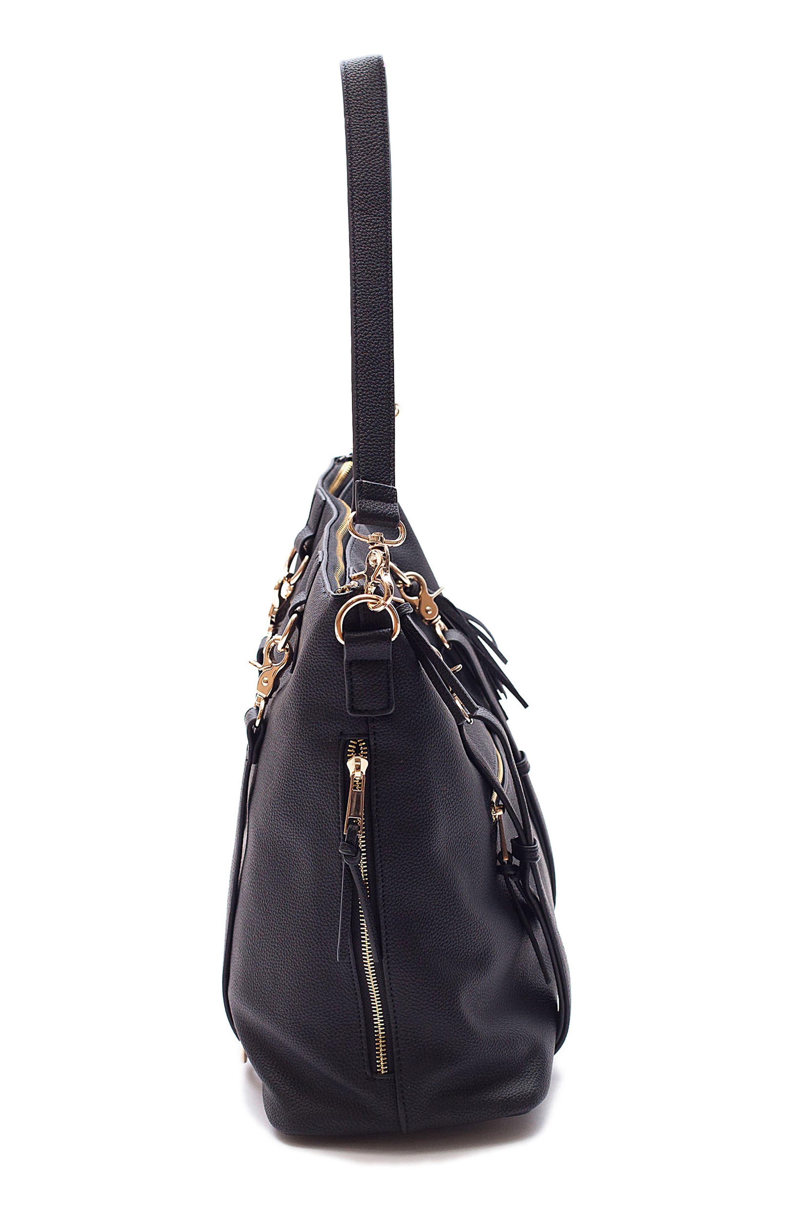 Boss Convertible Diaper Backpack,                             Alternate thumbnail 4, color,                             BLACK