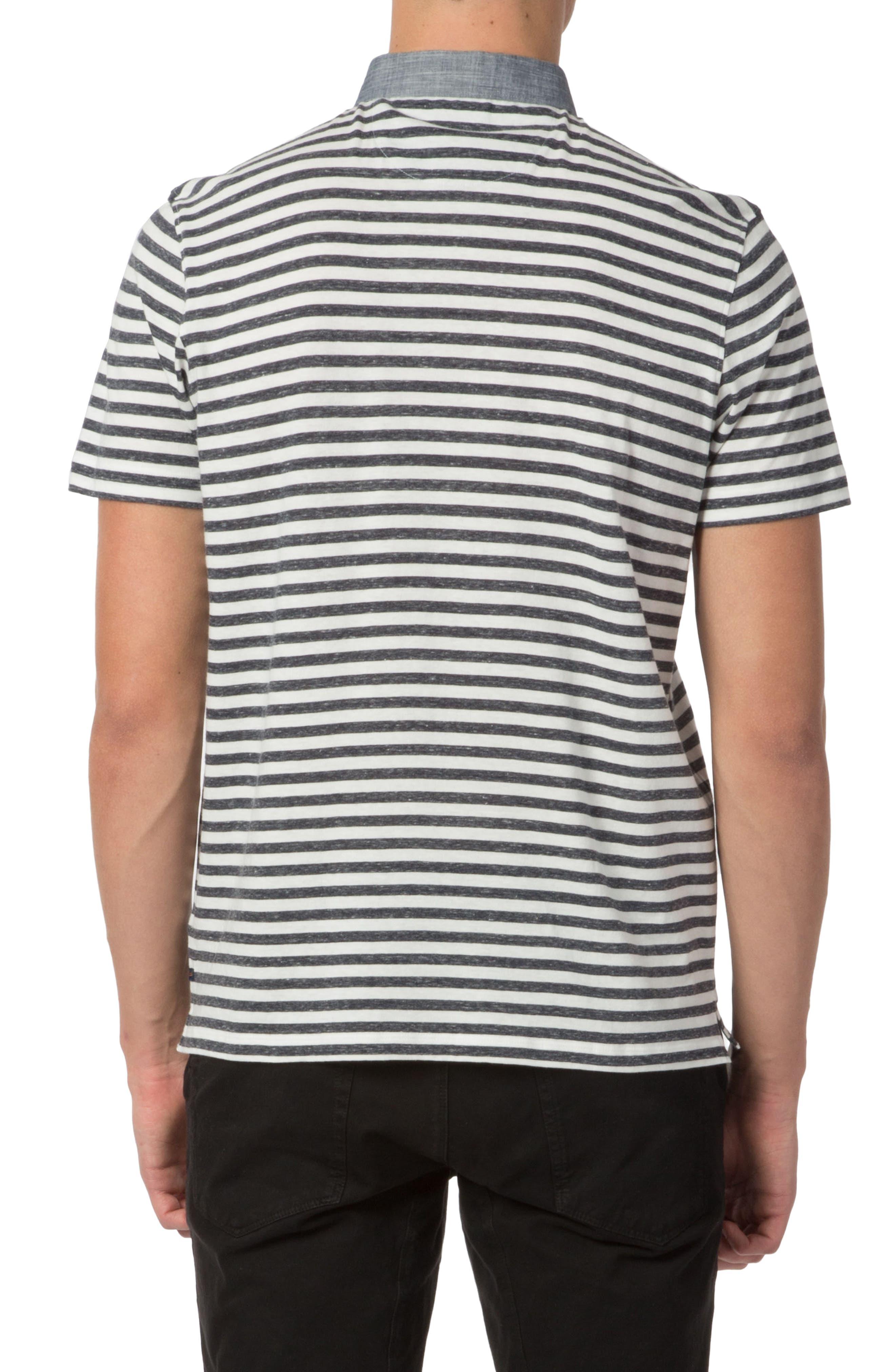 Trim Fit Stripe Linen Polo,                             Alternate thumbnail 2, color,                             413