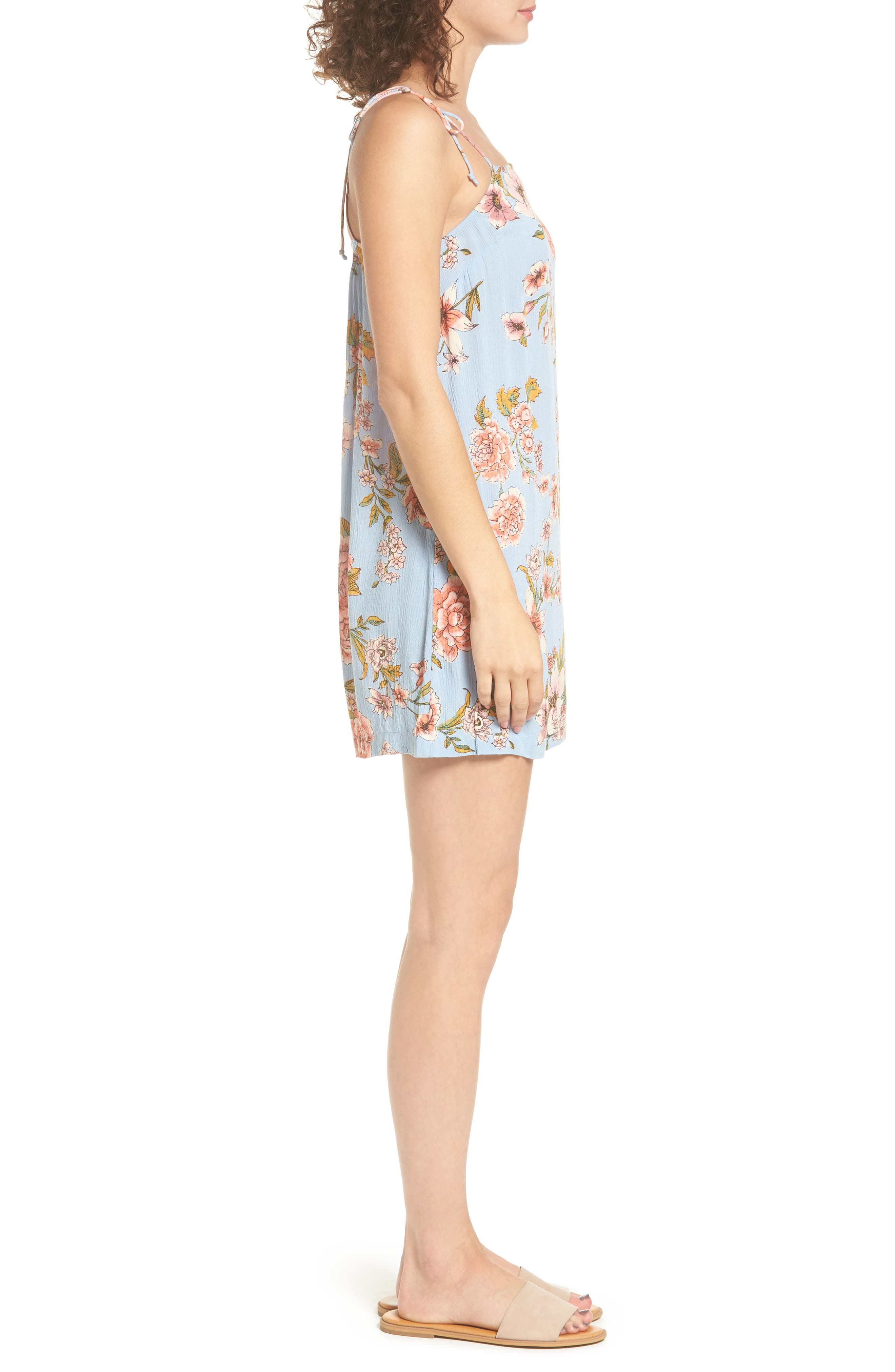 Night Out Floral Camisole Dress,                             Alternate thumbnail 3, color,                             488