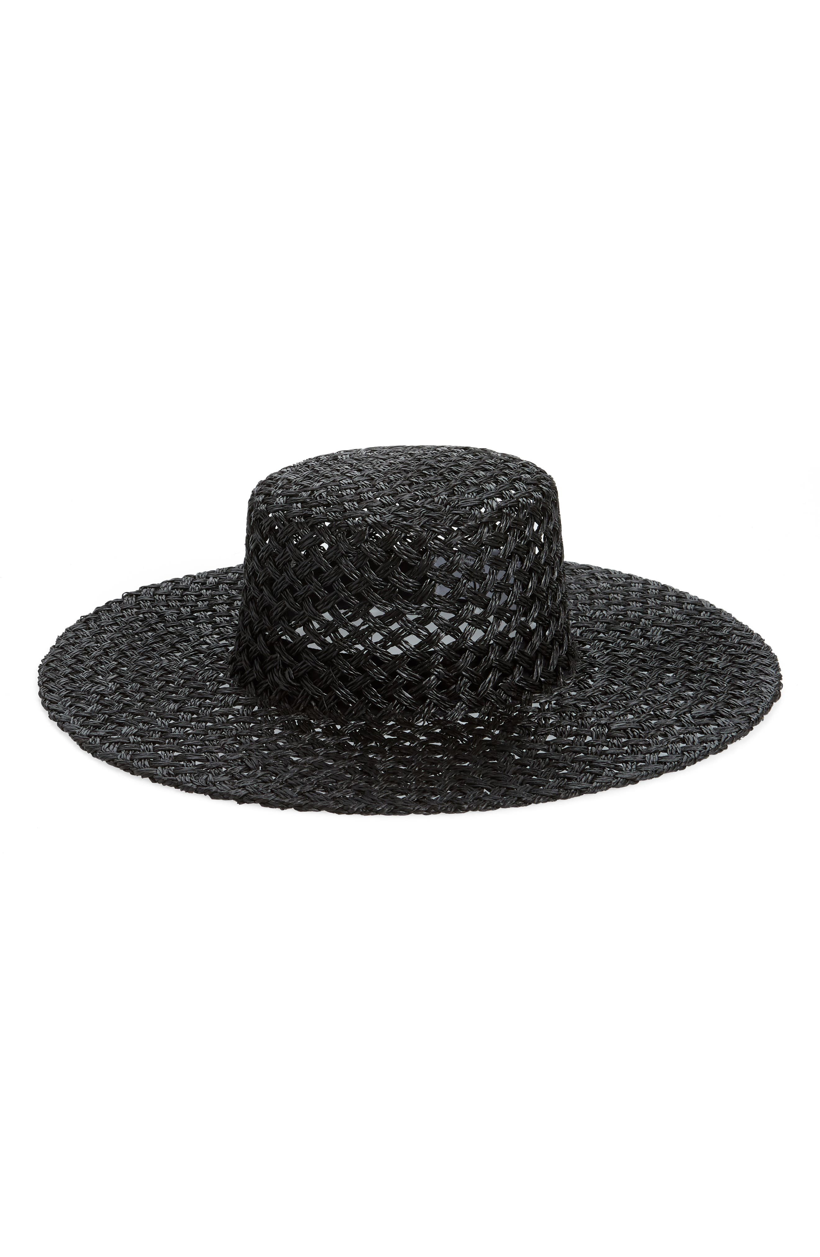 LACK OF COLOR Sunnydip Noir Wide Brim Woven Hat - Black in Burgundy