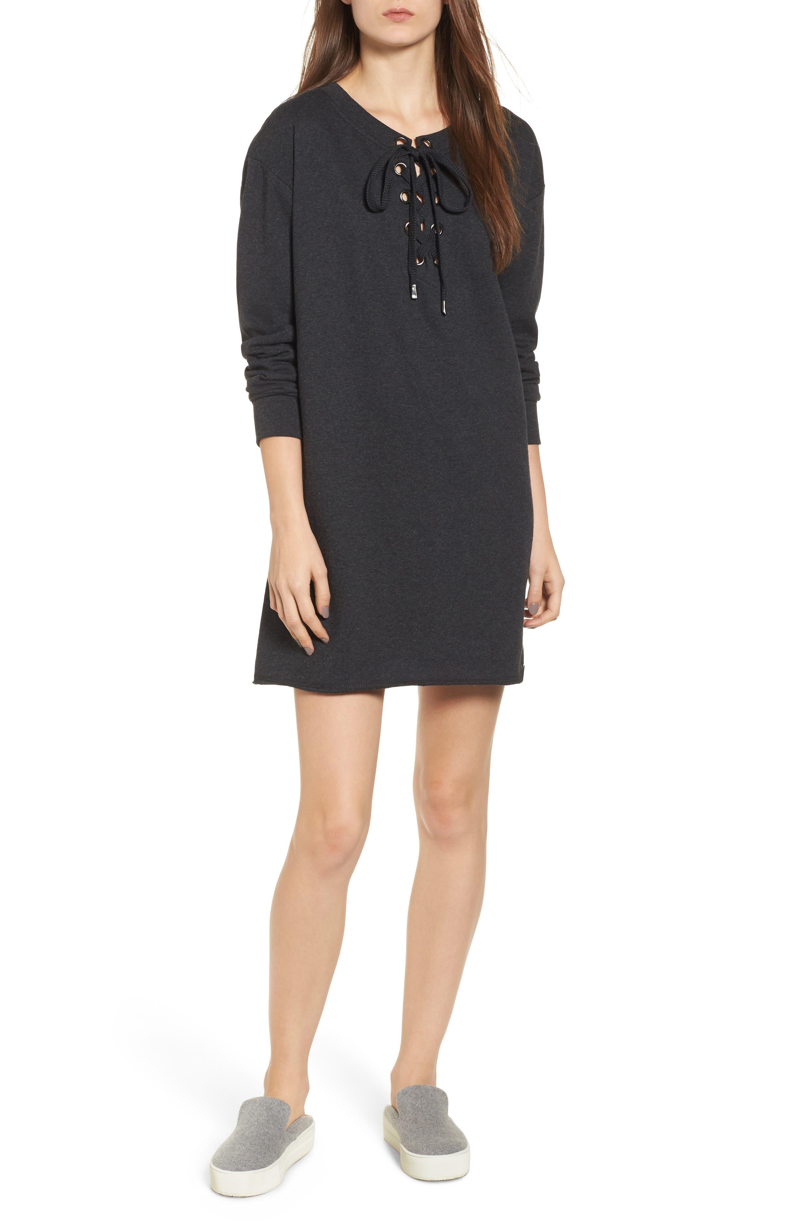 Lace-Up Sweatshirt Dress,                         Main,                         color, 020