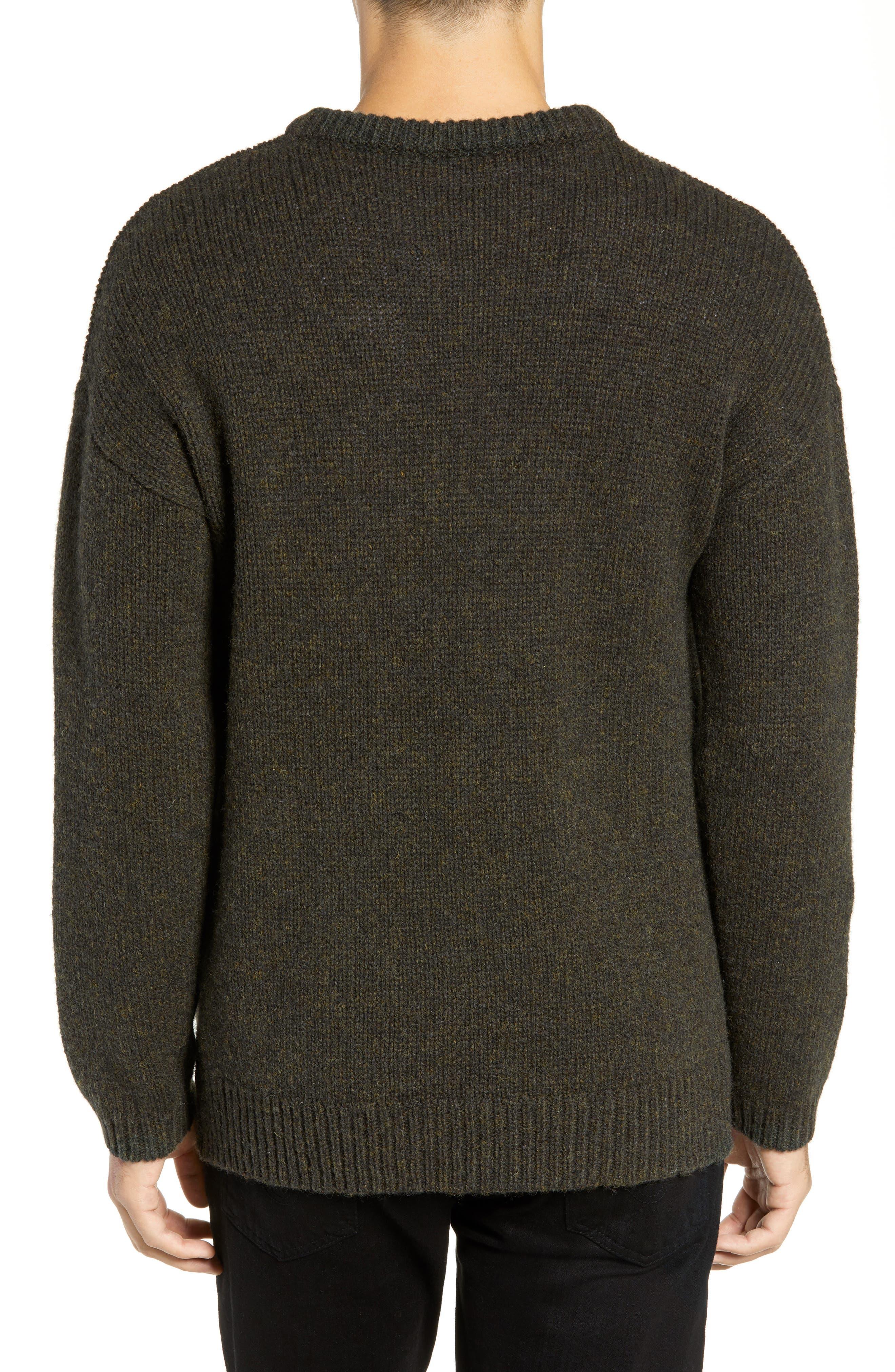 Free Regular Fit Shetland Wool Sweater,                             Alternate thumbnail 2, color,                             MIDNIGHT MOSS BLACK