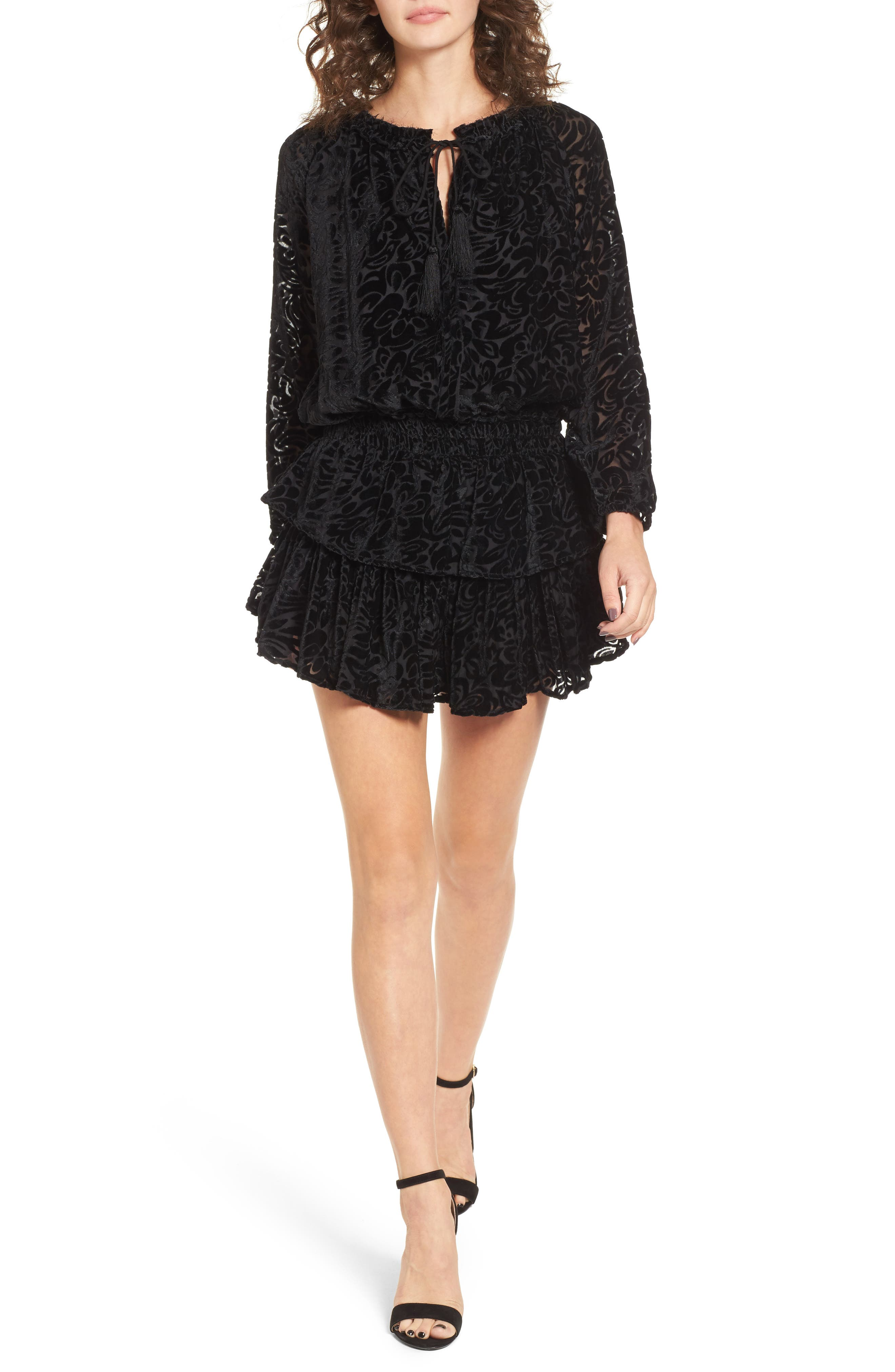 Ember Velvet Burnout Smocked Dress,                         Main,                         color, 001