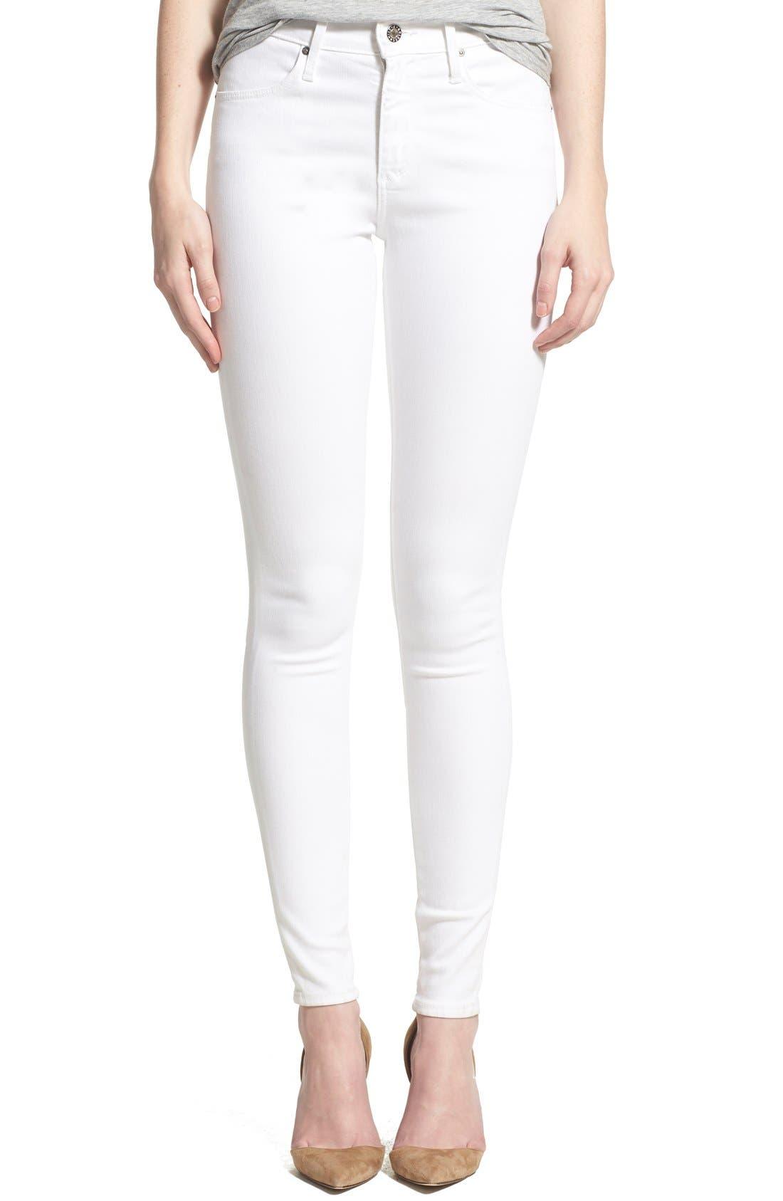 Farrah High Waist Skinny Jeans,                         Main,                         color, WHITE
