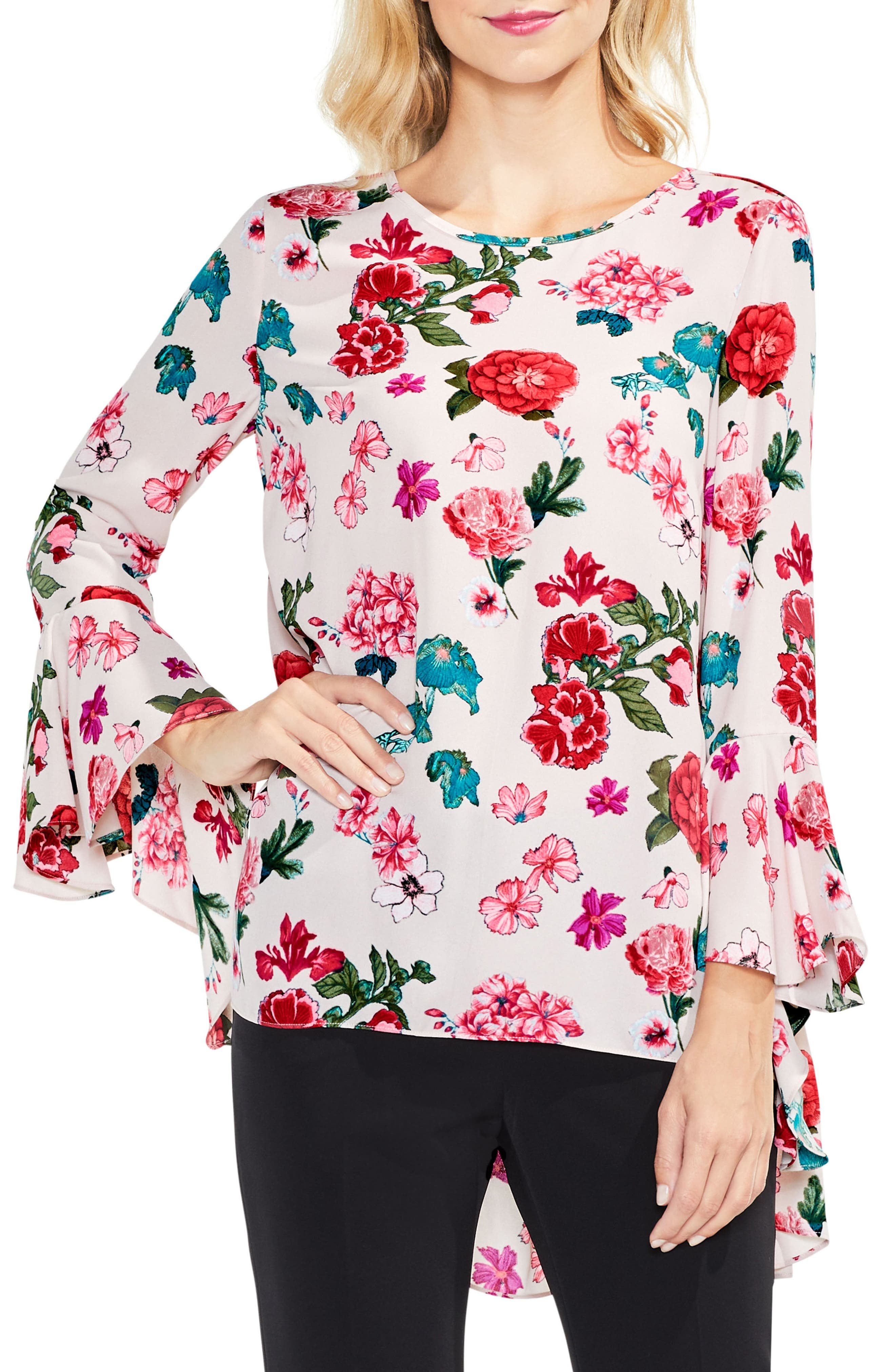 Floral Heirloom Bell Sleeve Top,                             Main thumbnail 3, color,