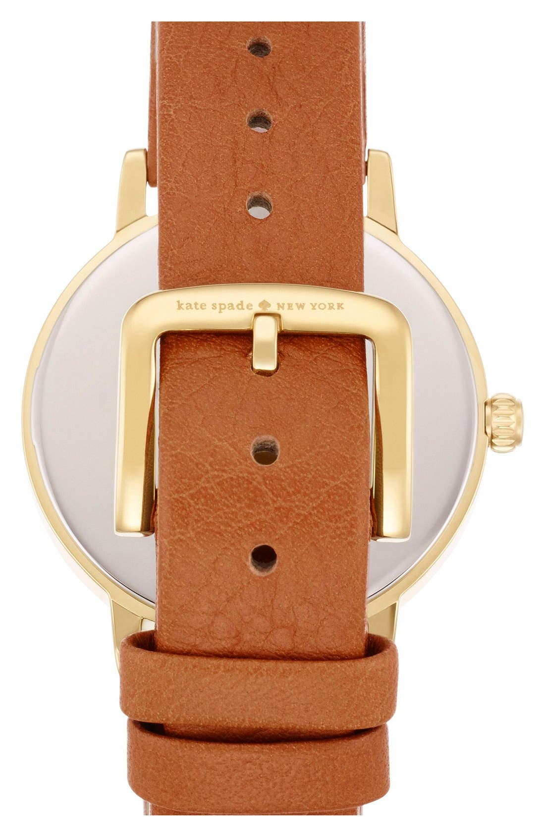 KATE SPADE NEW YORK,                             'metro' scalloped dial leather strap watch, 34mm,                             Alternate thumbnail 2, color,                             200