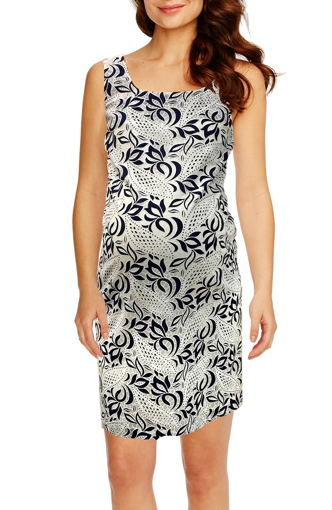 'Victoria' Lace Sleeveless Maternity Dress,                         Main,                         color, NAVY/ WHITE