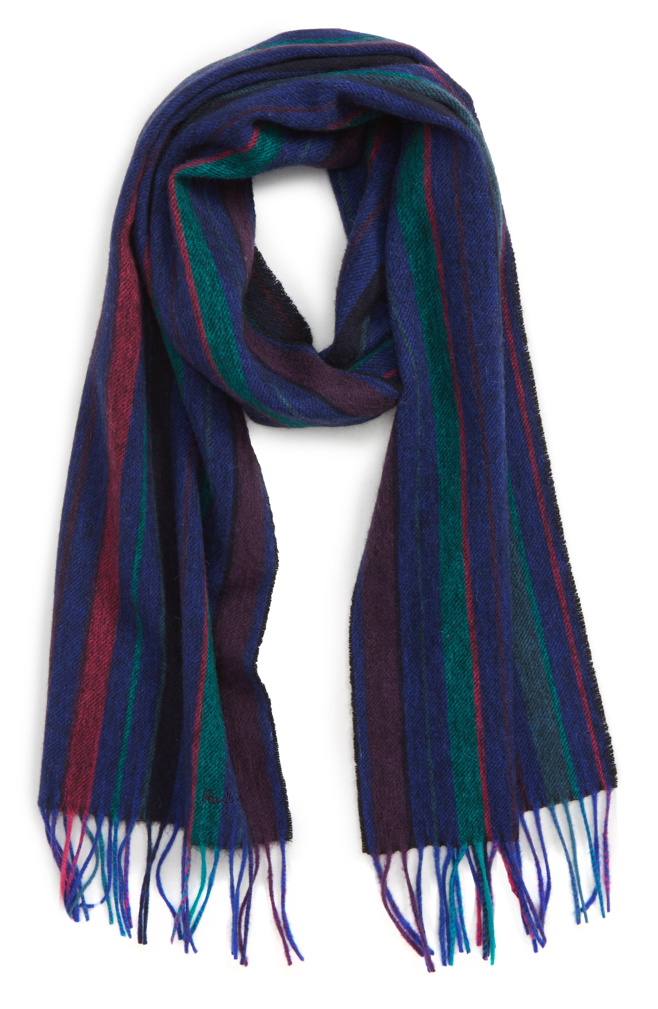 PAUL SMITH College Stripe Wool Scarf, Main, color, NAVY