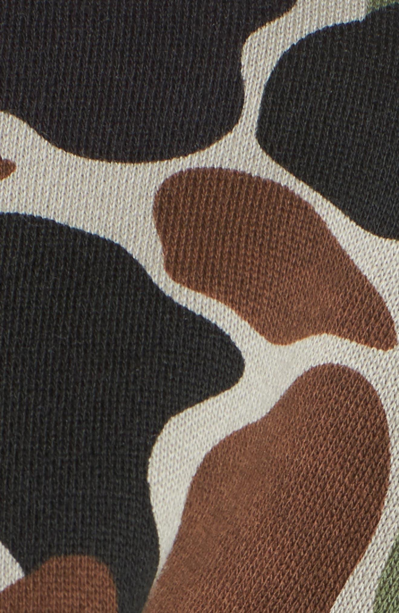 Camo Print Drawstring Crop Sweatshirt,                             Alternate thumbnail 6, color,                             300
