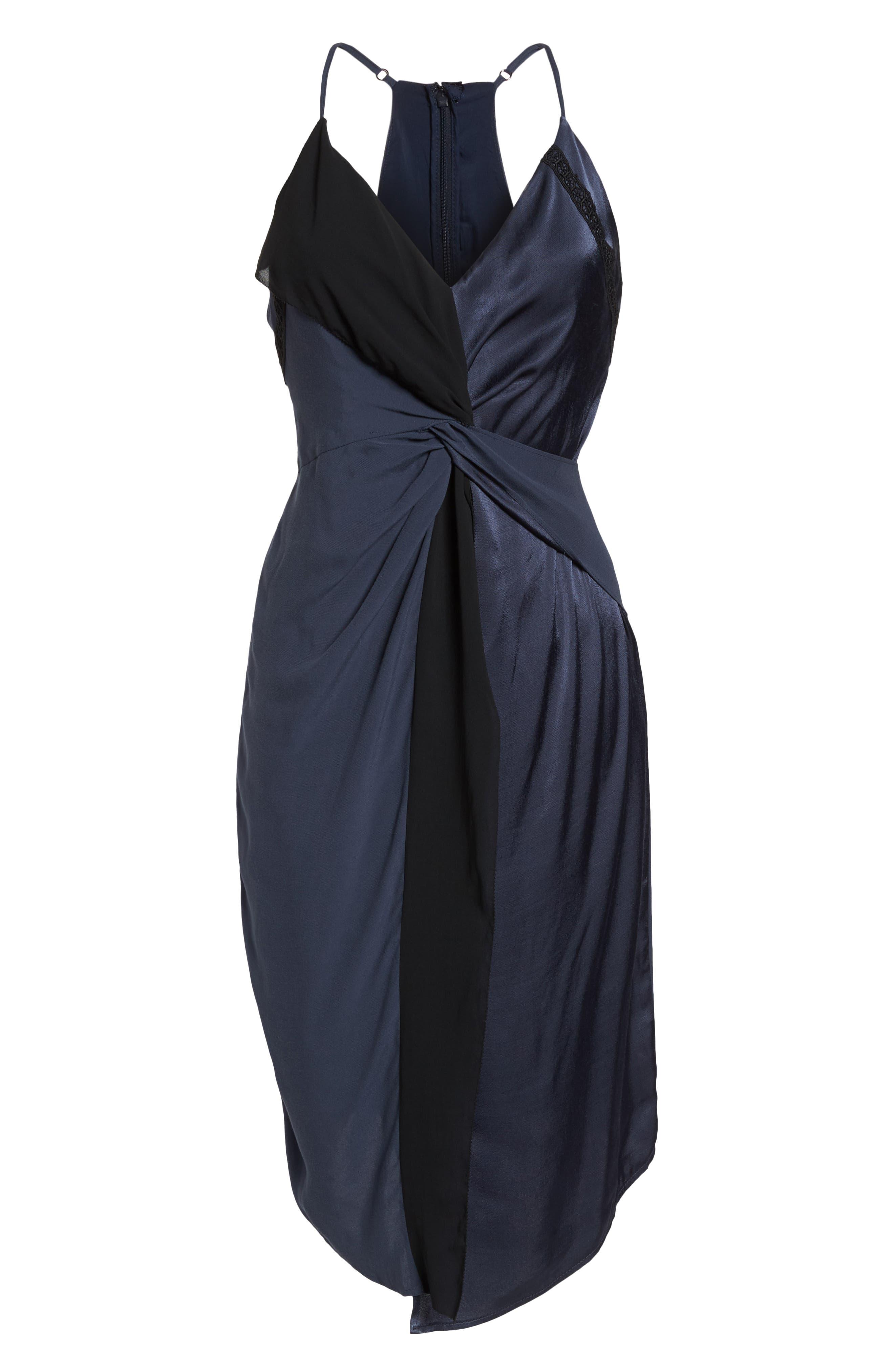 Twist Front Cocktail Dress,                             Alternate thumbnail 7, color,                             BLACK/ NAVY