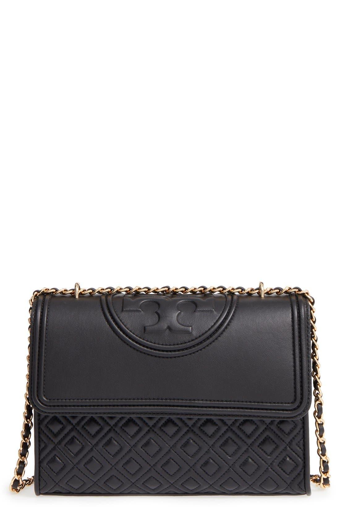 'Fleming' Convertible Shoulder Bag,                             Main thumbnail 1, color,                             BLACK