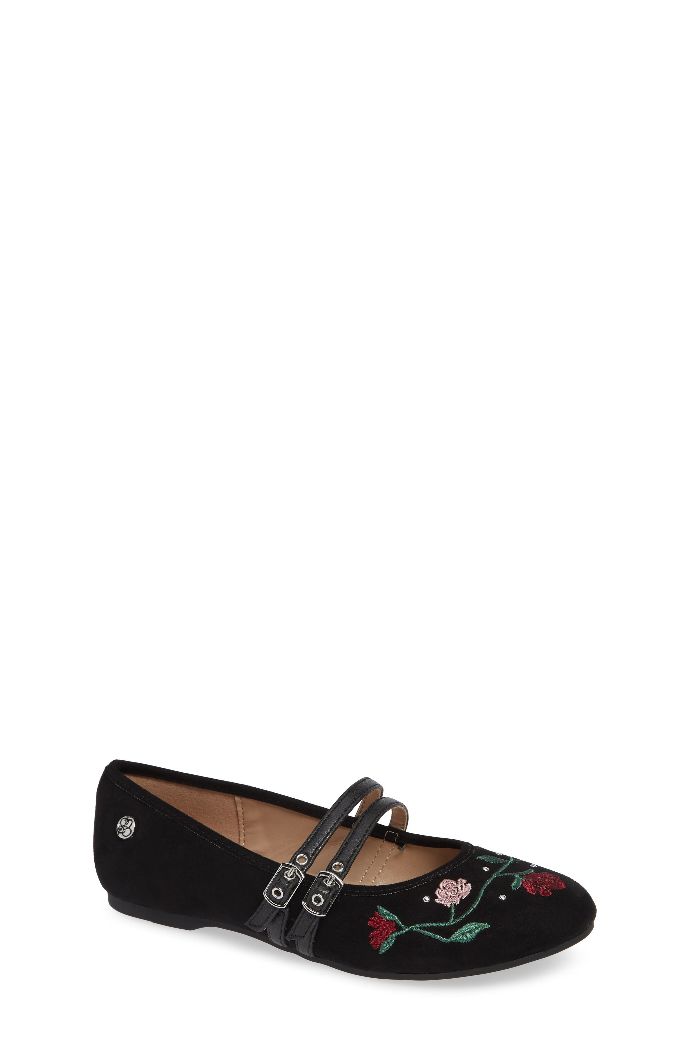 Embroidered Mary Jane Flat,                             Main thumbnail 1, color,                             BLACK MICRO SUEDE