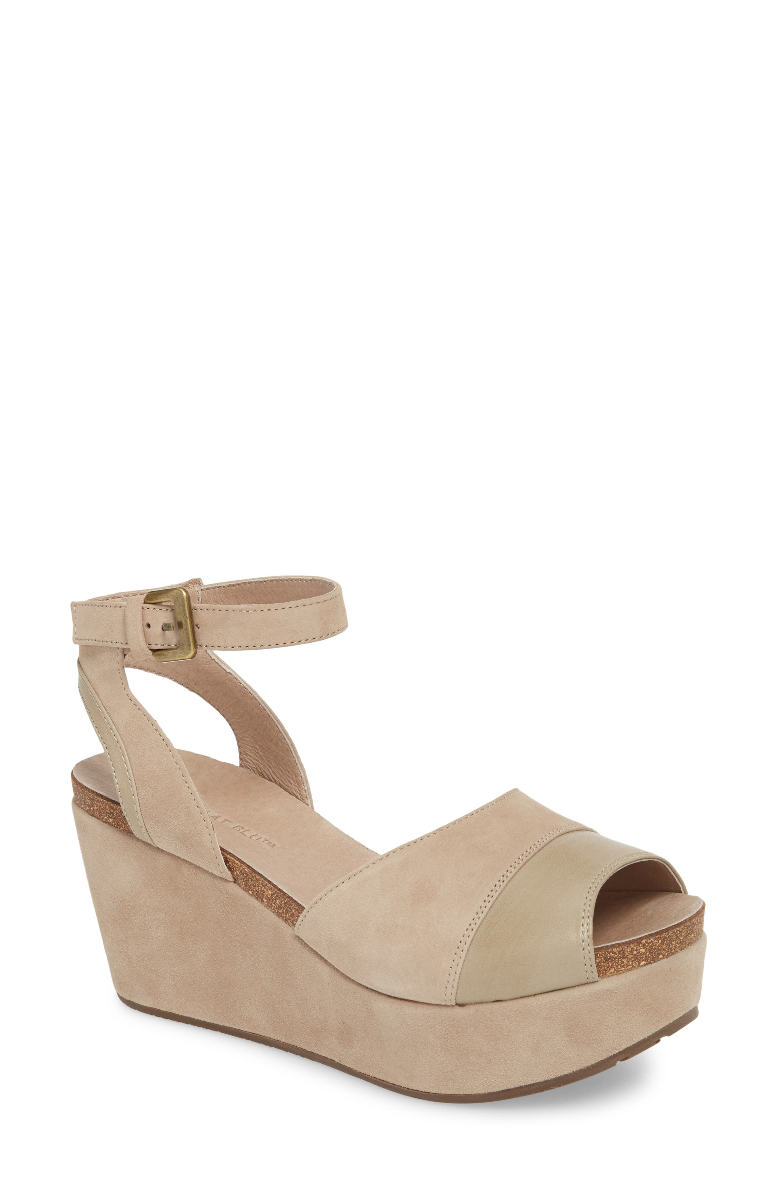 Chocolate Blu Welby Ankle Strap Wedge Sandal,                             Main thumbnail 1, color,                             TAUPE SUEDE