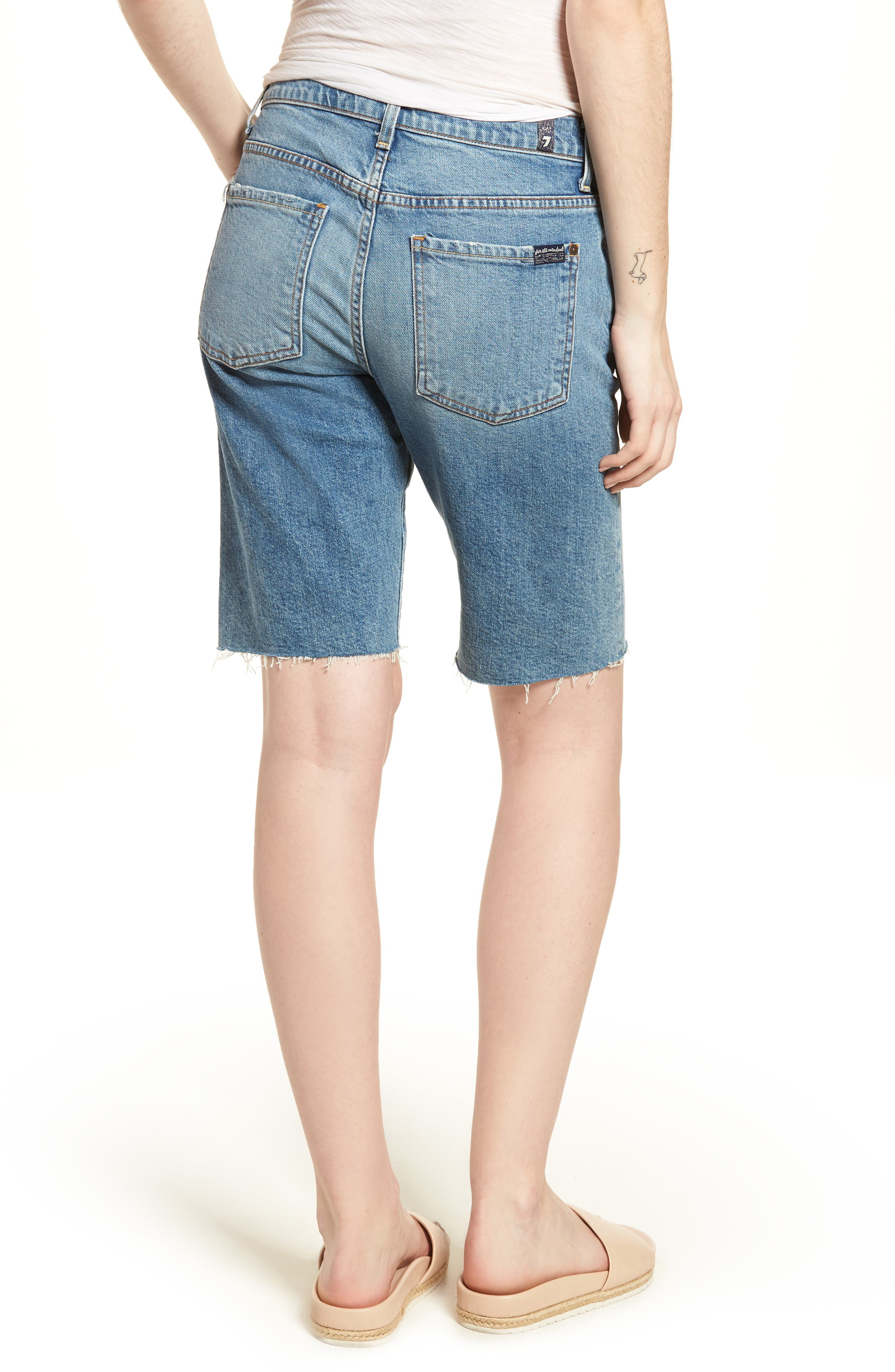 High Waist Denim Bermuda Shorts,                             Alternate thumbnail 2, color,                             402