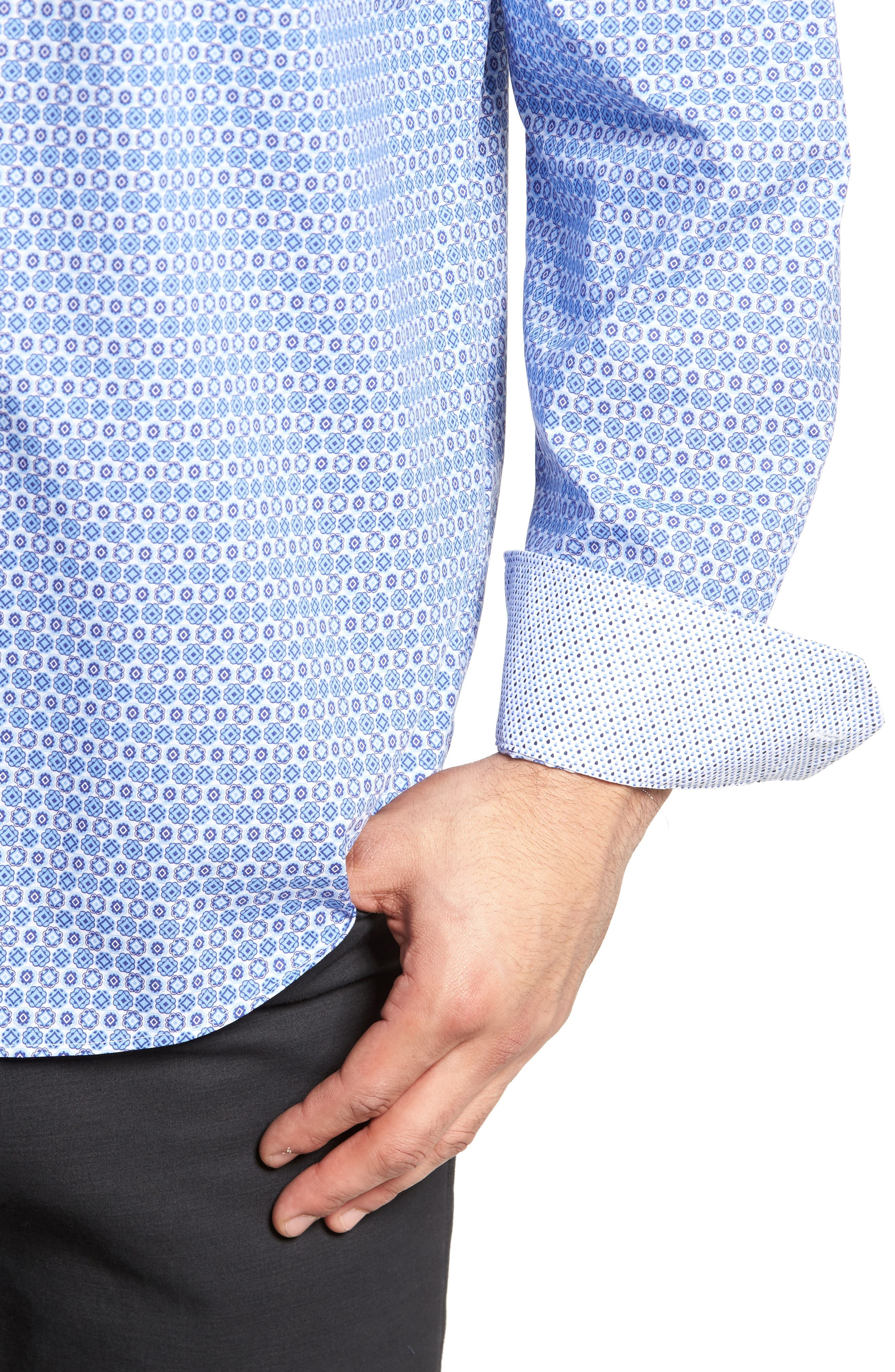 Classic Fit Medallion Print Sport Shirt,                             Alternate thumbnail 4, color,                             422