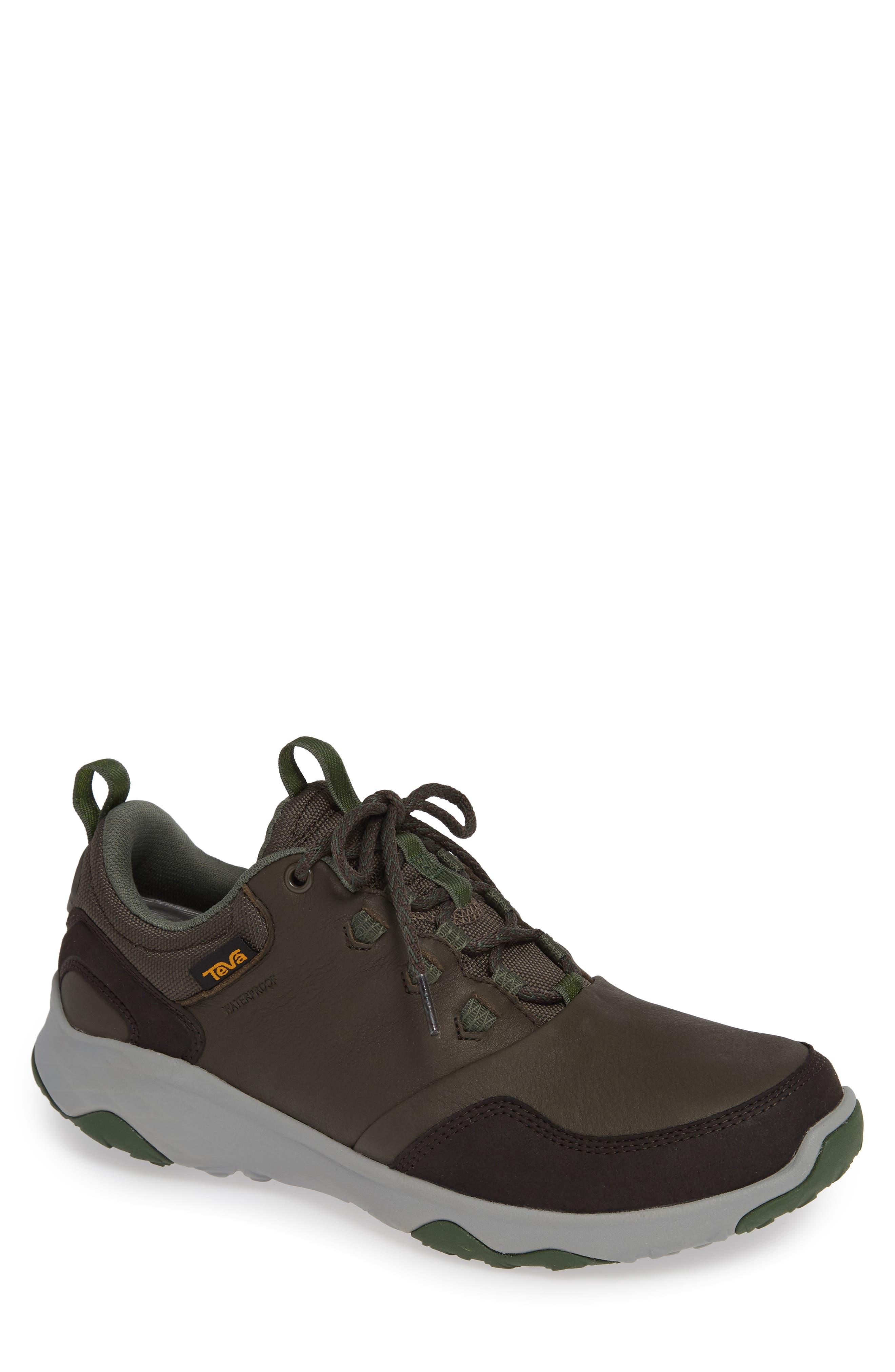 TEVA Arrowood Waterproof Sneaker in Black Olive Leather