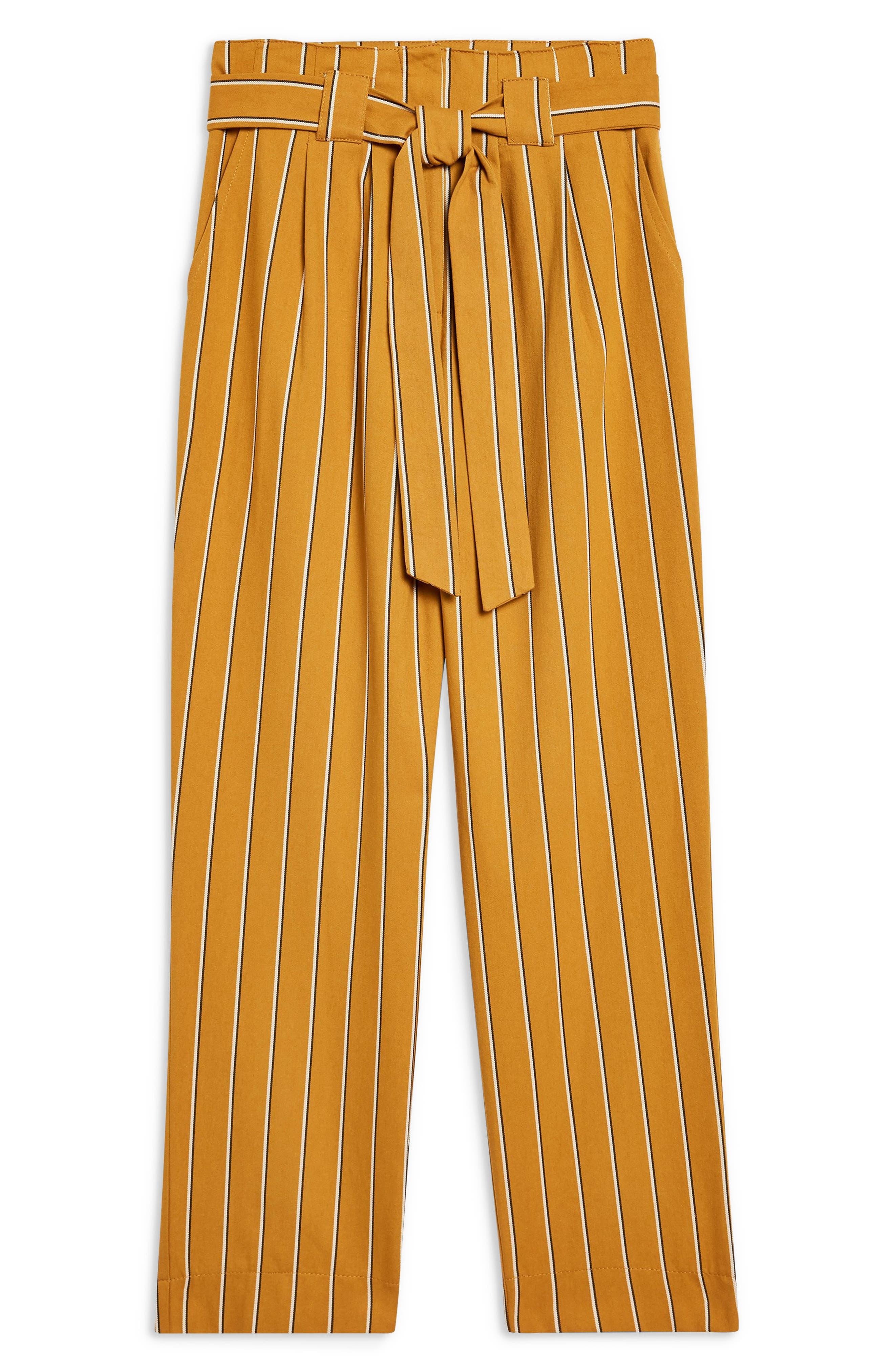 Polly Stripe Peg Trousers,                             Alternate thumbnail 4, color,                             MUSTARD MULTI