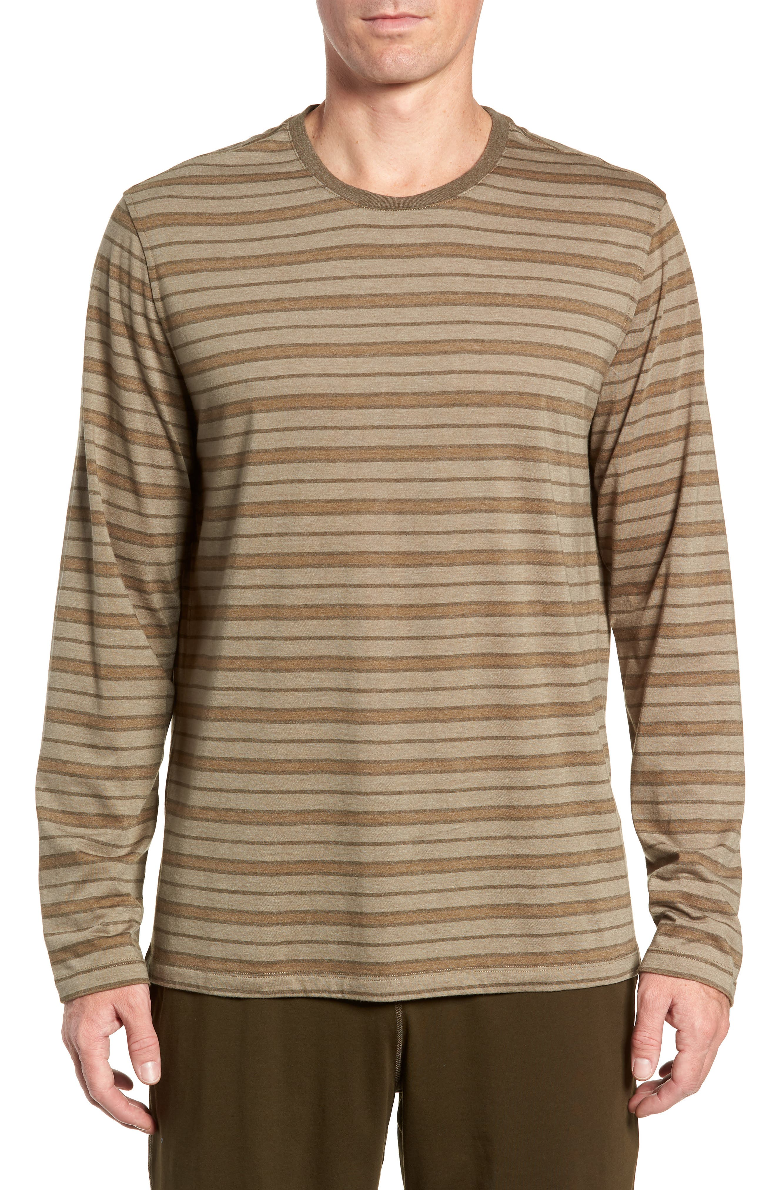 Stripe Cotton Blend Long Sleeve T-Shirt,                             Main thumbnail 1, color,                             ARMY