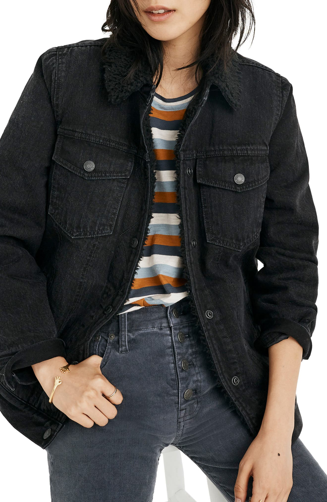 Oversize Denim Jacket with Fleece Collar,                             Main thumbnail 1, color,                             GALLAGHER WASH