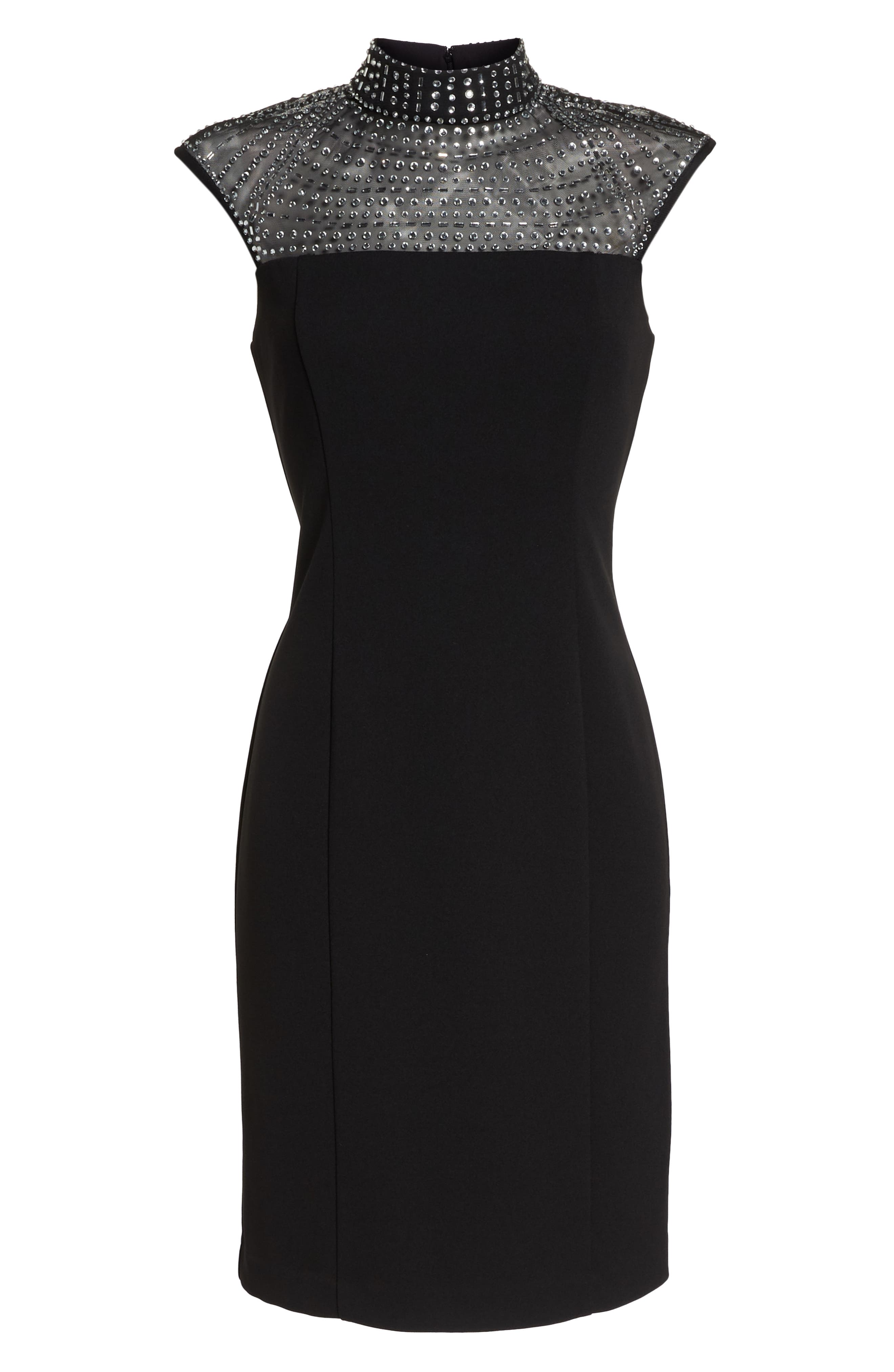 Crystal Yoke Sheath Dress,                             Alternate thumbnail 6, color,                             BLACK