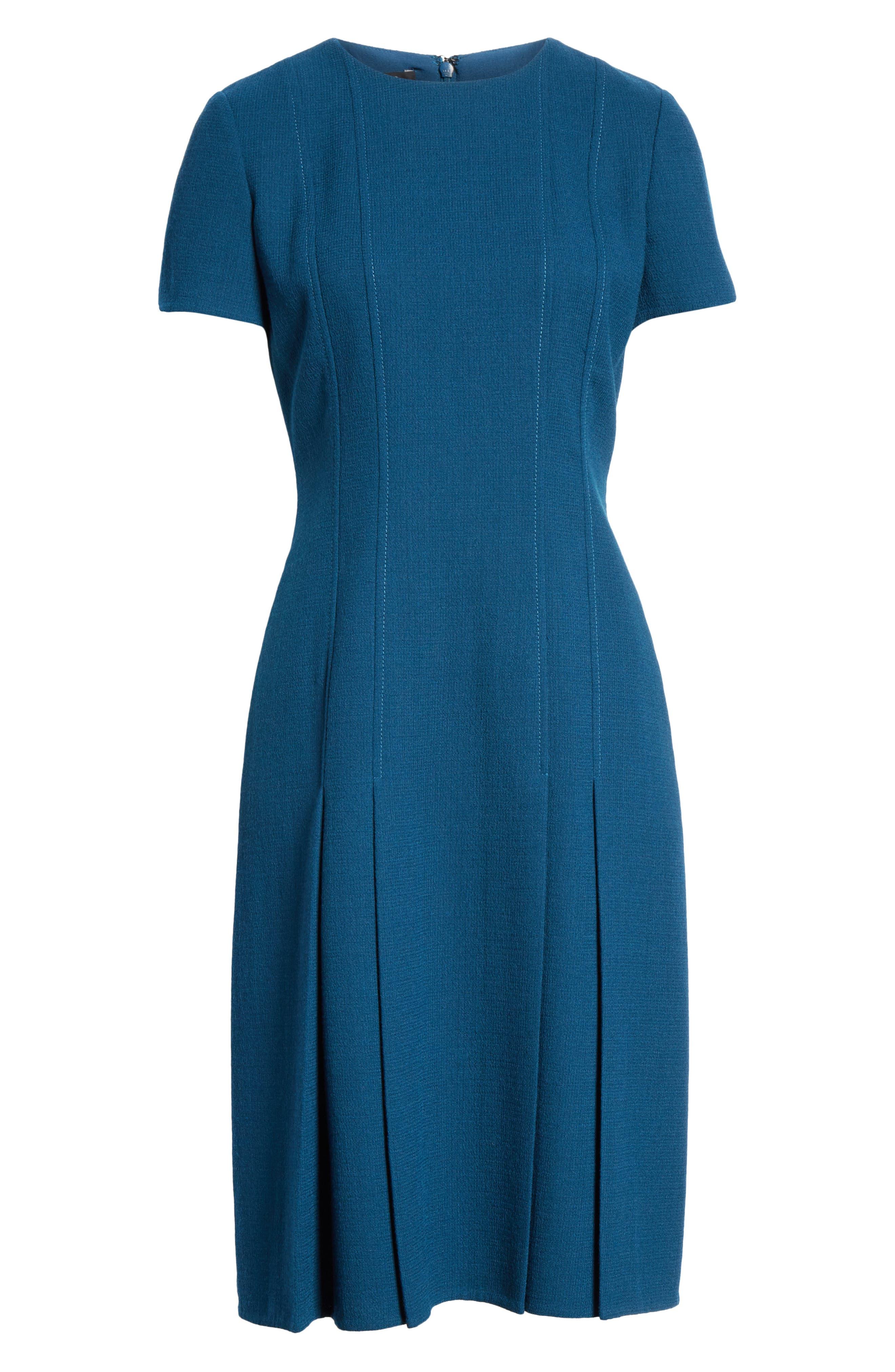 Jannie Pleated Hem Dress,                             Alternate thumbnail 7, color,                             EMPRESS TEAL