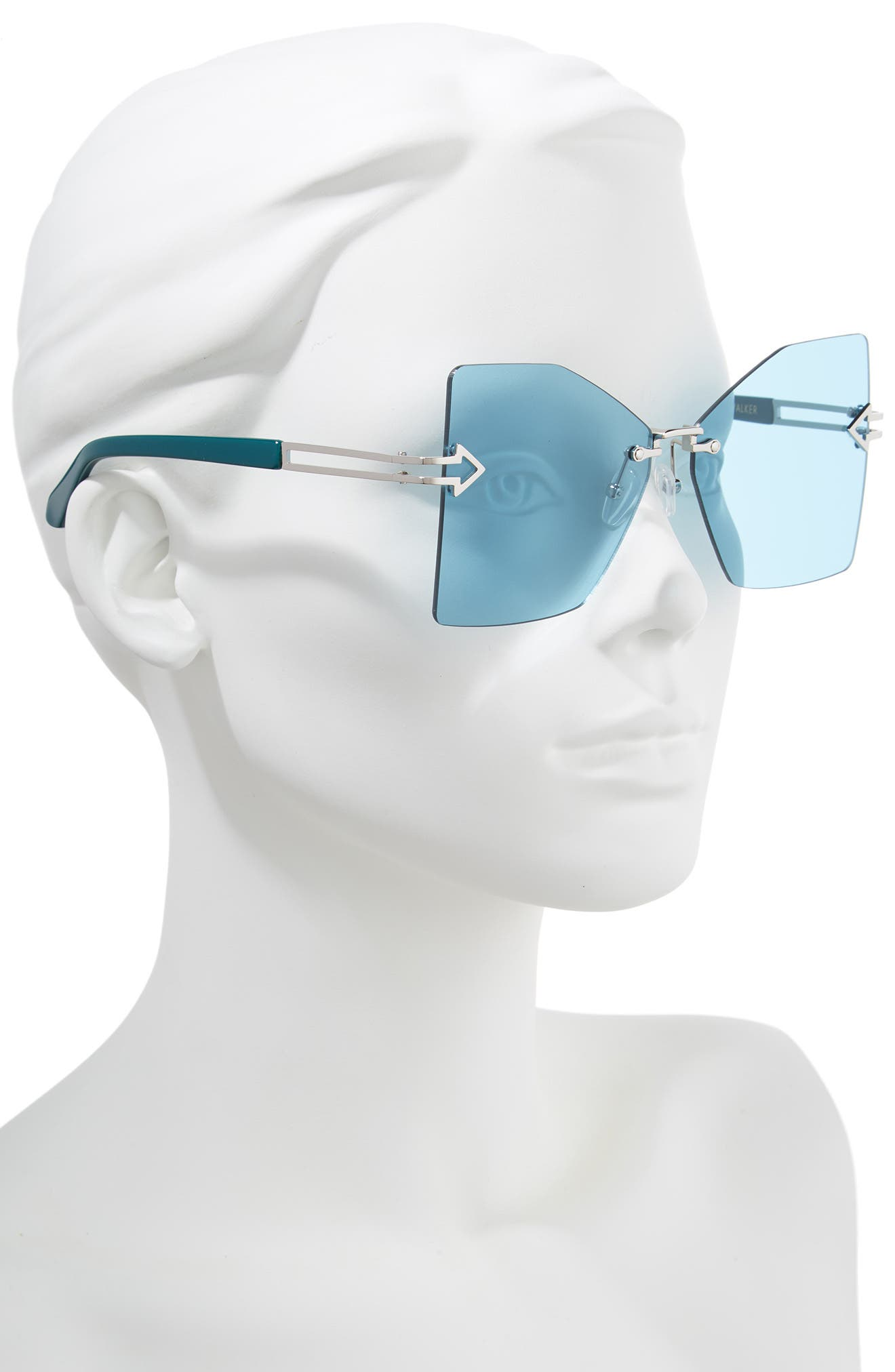 Wanderlust 61mm Butterfly Sunglasses,                             Alternate thumbnail 2, color,                             SHINY SILVER/ EMERALD