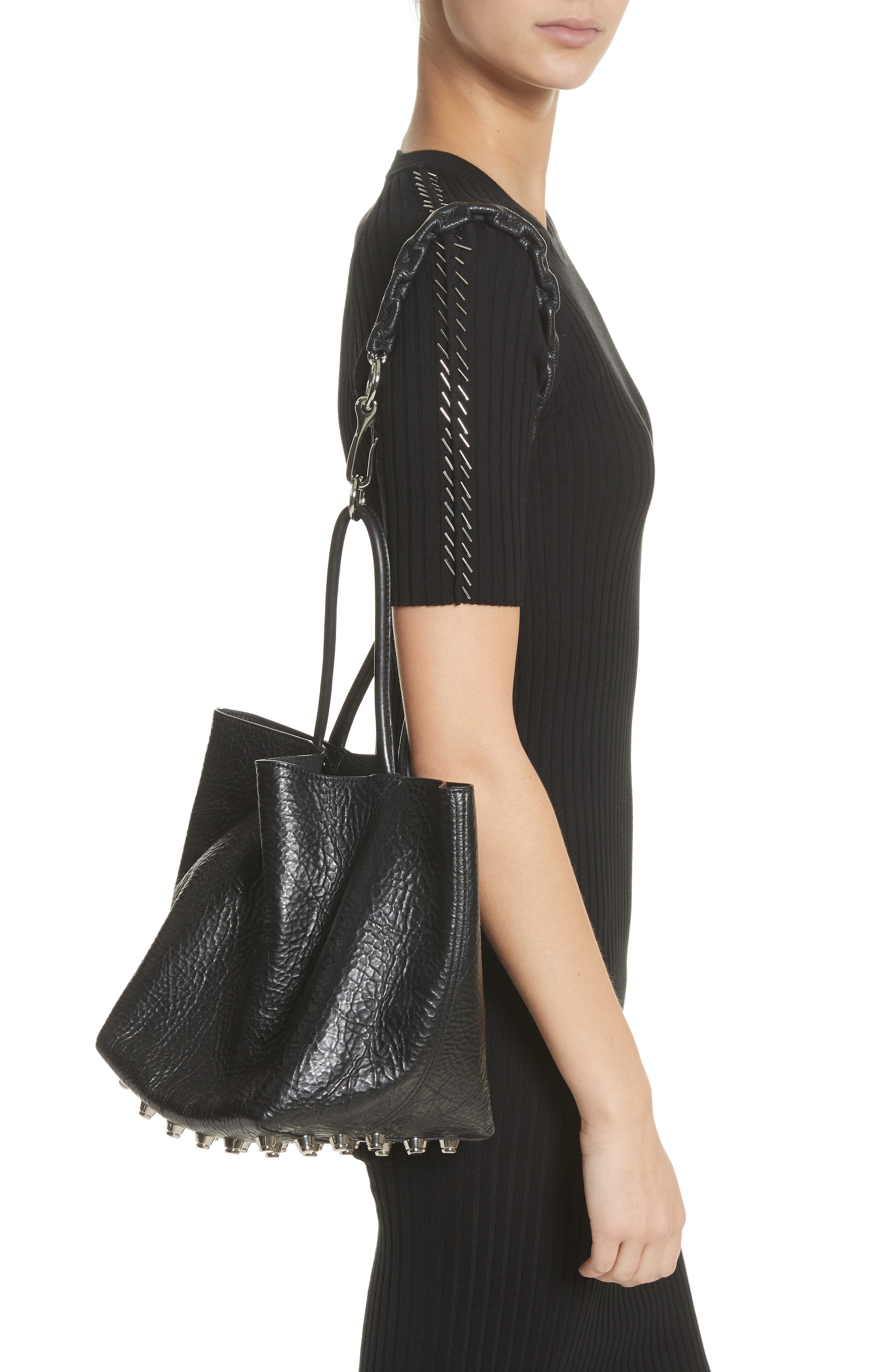 Small Roxy Covered Chain Leather Bucket Bag,                             Alternate thumbnail 2, color,                             BLACK
