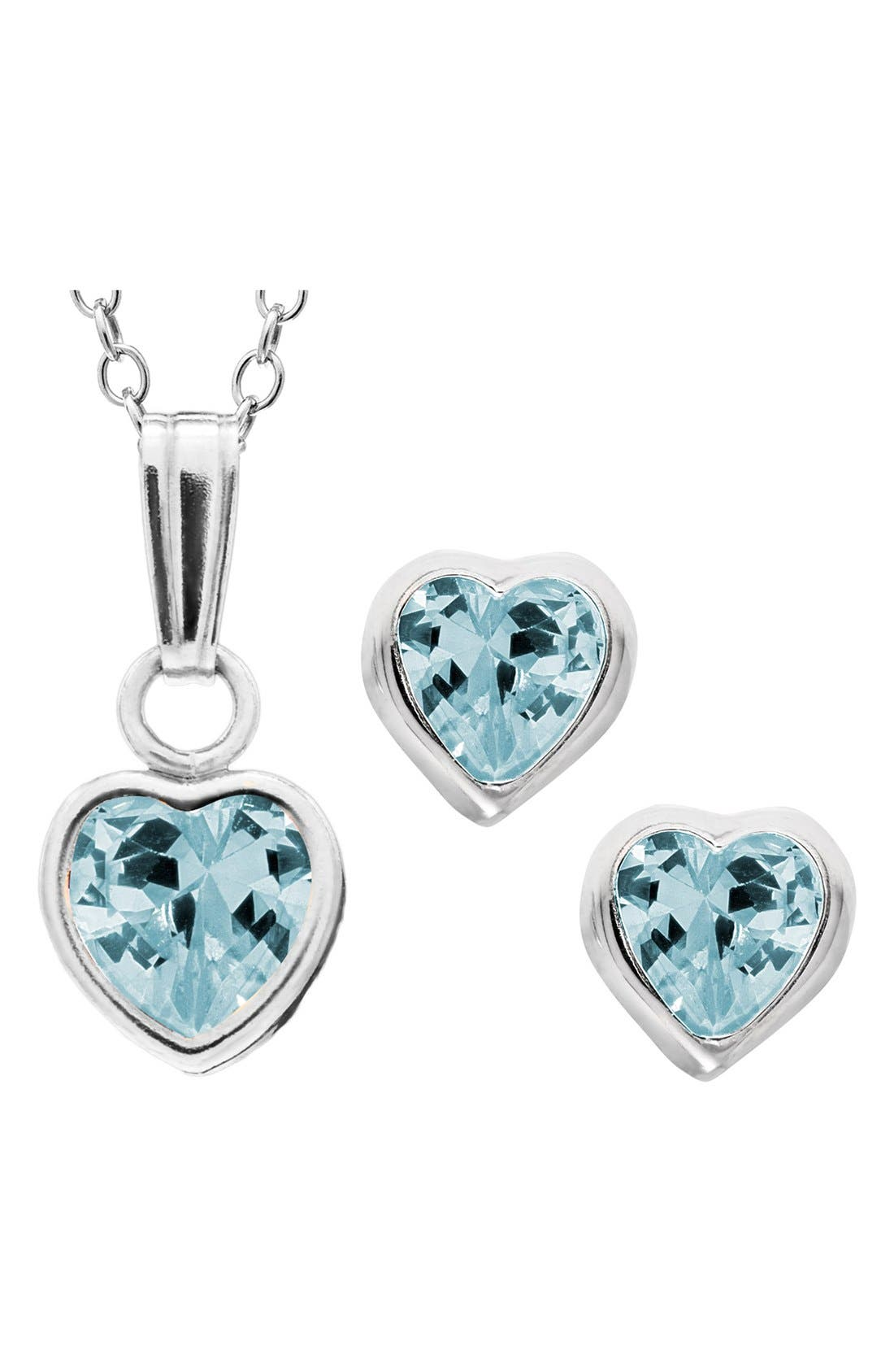 Sterling Silver & Cubic Zirconia Birthstone Necklace & Earrings Set,                         Main,                         color, MARCH