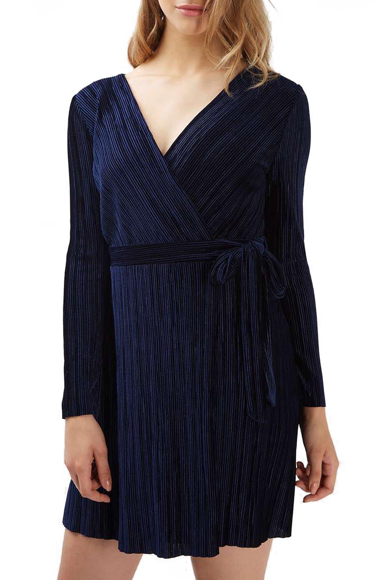 Velvet Wrap Dress,                             Alternate thumbnail 2, color,                             410