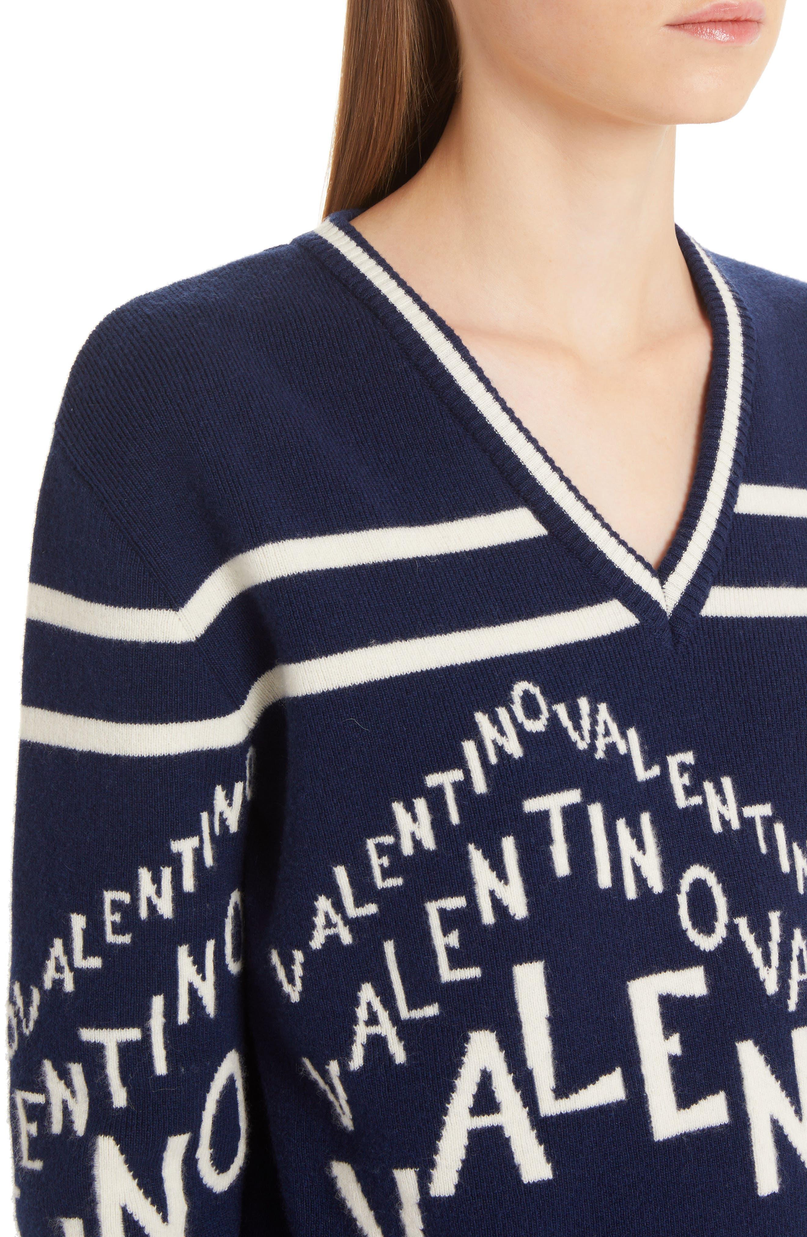 VALENTINO,                             Chevron Logo Wool & Cashmere Sweater,                             Alternate thumbnail 4, color,                             ALMOND/ PURE BLUE