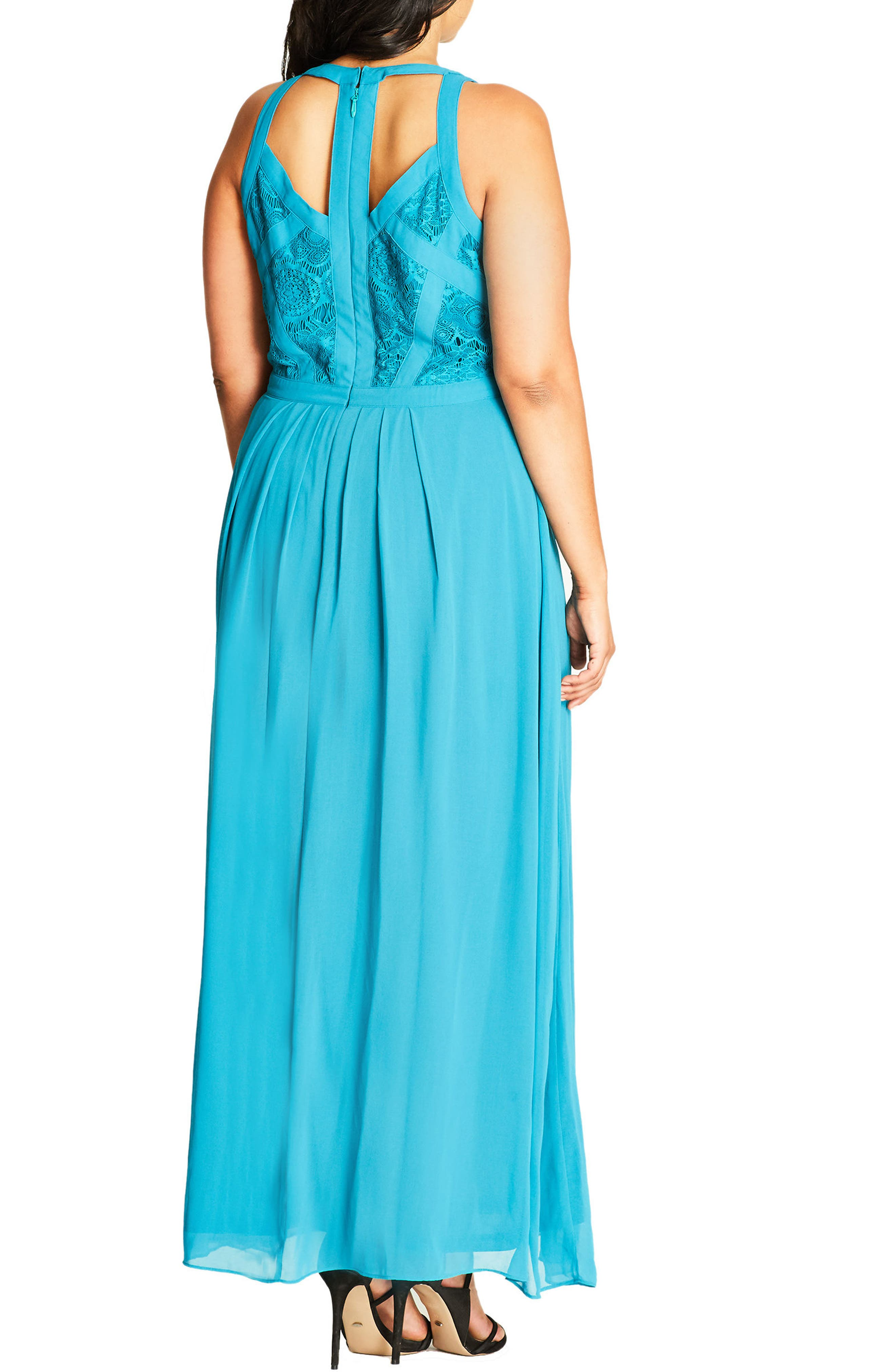 Paneled Lace Bodice Gown,                             Alternate thumbnail 17, color,